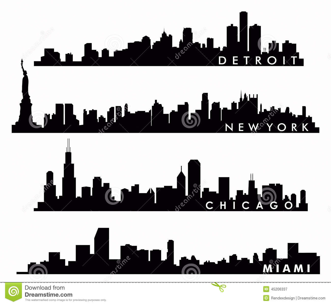 New York Skyline Chicago Skyline Miami Skyline Detroit Skyline Stock Vector Image 45206337