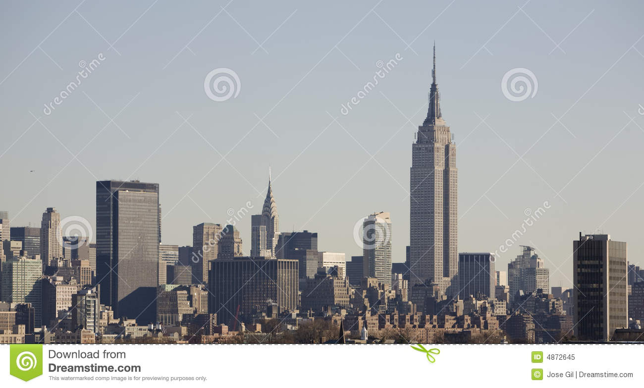 new york skyline with empire state building royalty free. Black Bedroom Furniture Sets. Home Design Ideas