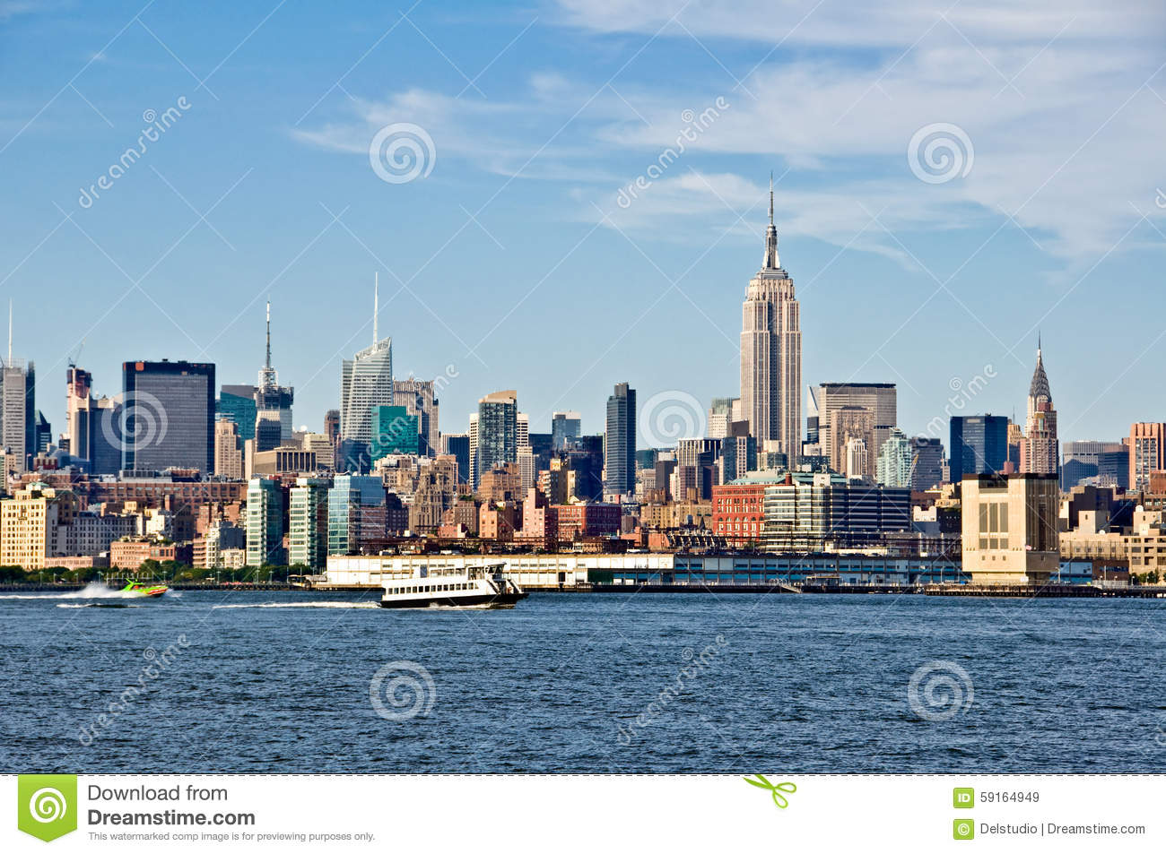 new york skyline with the empire state building stock. Black Bedroom Furniture Sets. Home Design Ideas
