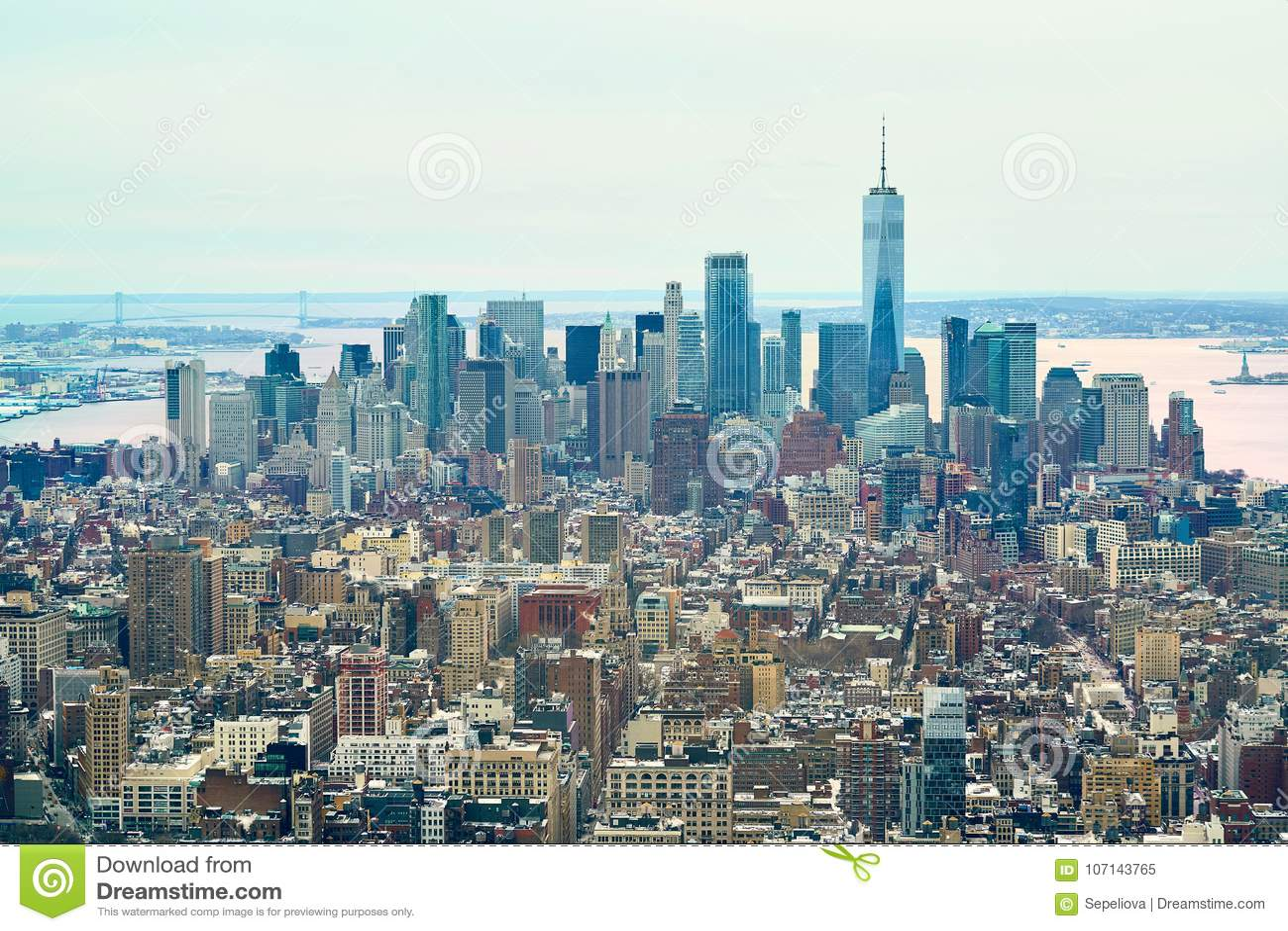 New York Skyline Panorama View From Rockefeller Center Editorial