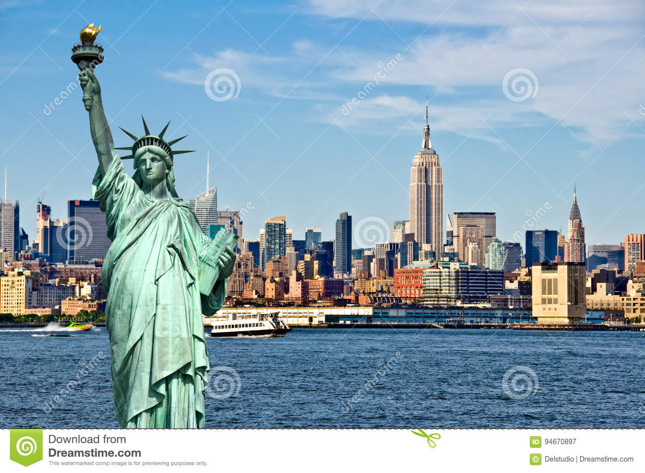 New York skyline and the Statue of Liberty, New York City collage, travel and tourism postcard concept