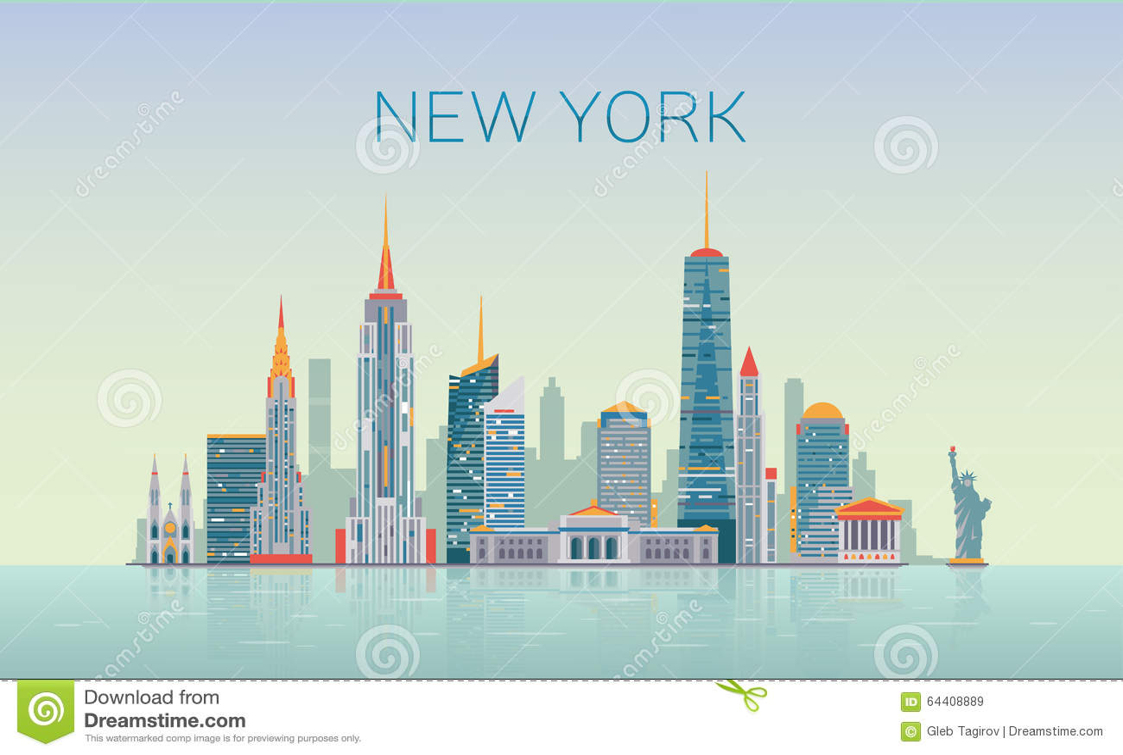 New York Skyline Stock Vector Image - New york map eps