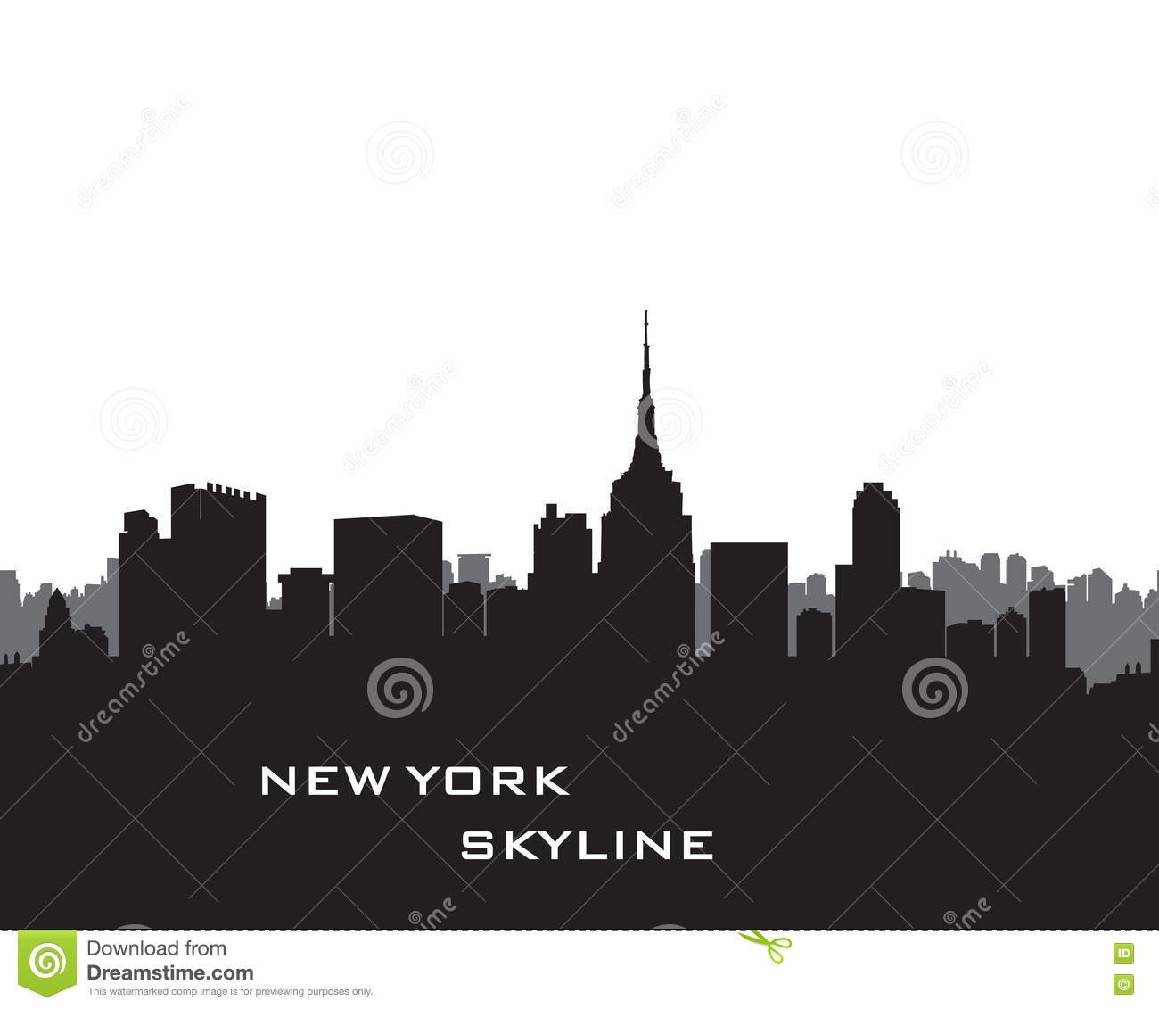 New York Skyline Vector Usa Landscape Cityscape With Skyscrapers