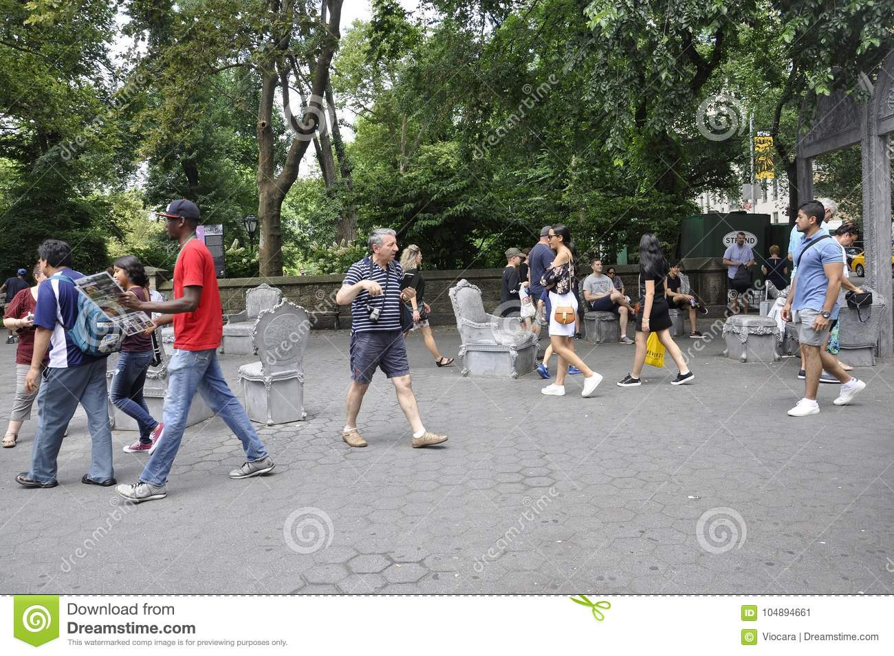 New York, 1st July: People Relaxing in Central Park in Midtown Manhattan from New York City in United States
