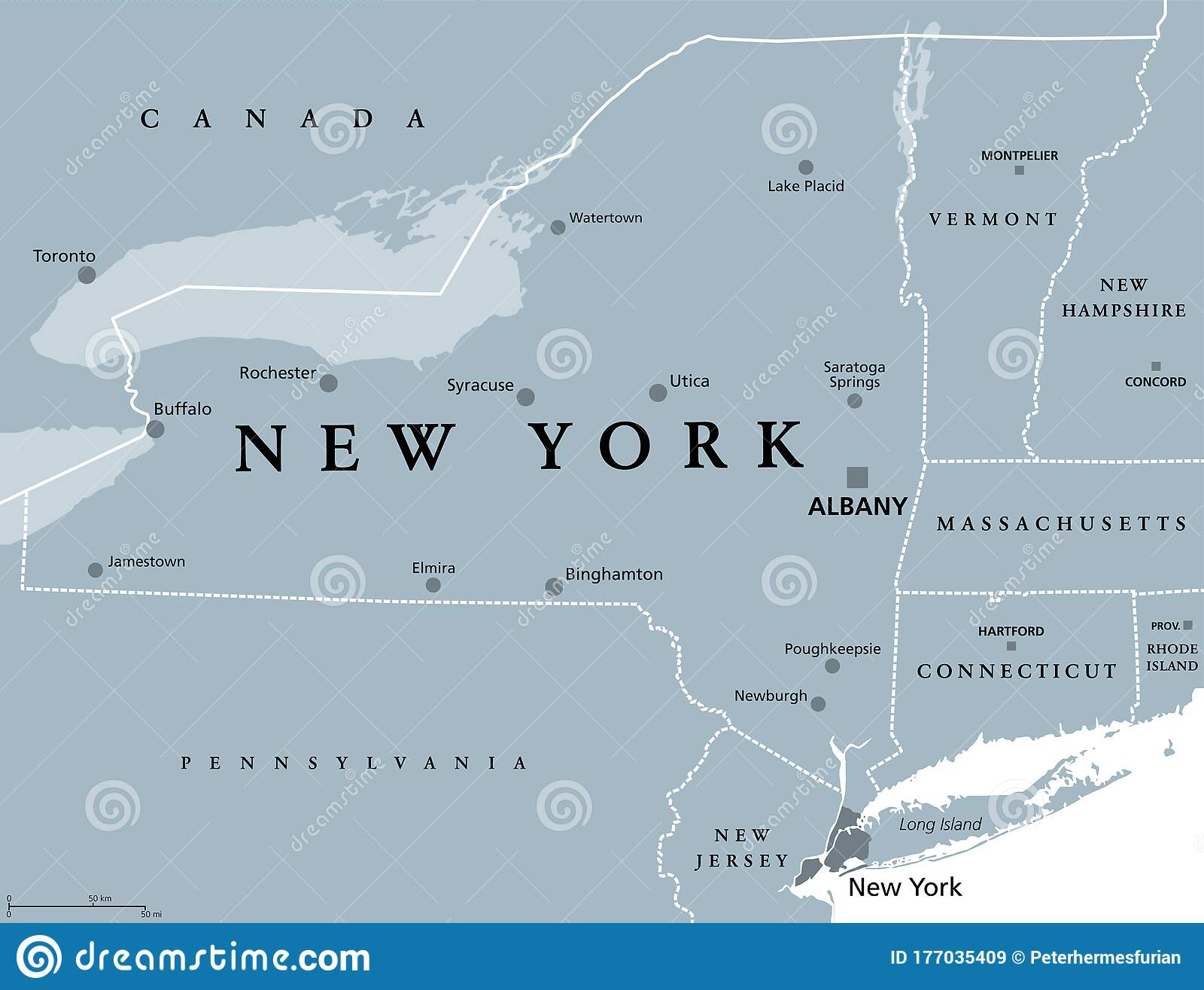 Picture of: New York State Nys Gray Colored Political Map Stock Vector Illustration Of Lakes Buffalo 177035409