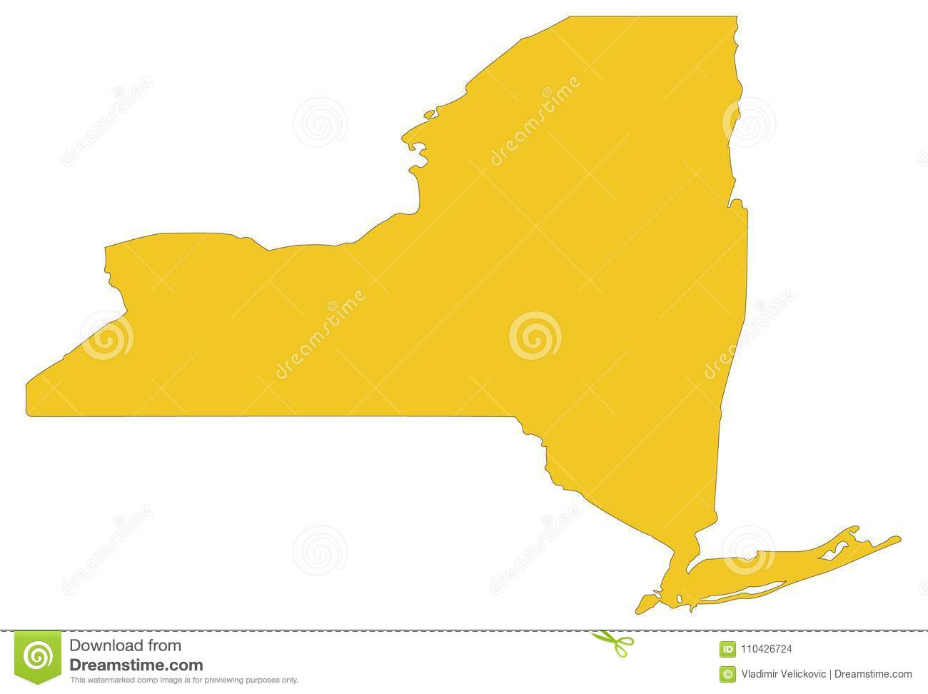New York State Map - State In The Northeastern United States Stock ...