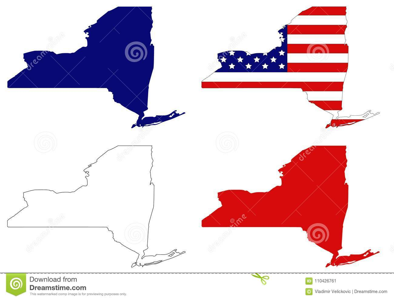 New York State Map With USA Flag - State In The Northeastern United ...
