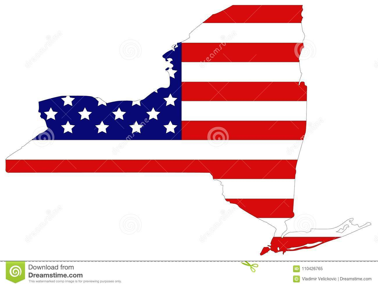 New York On The Map Of Usa.New York State Map With Usa Flag State In The Northeastern United
