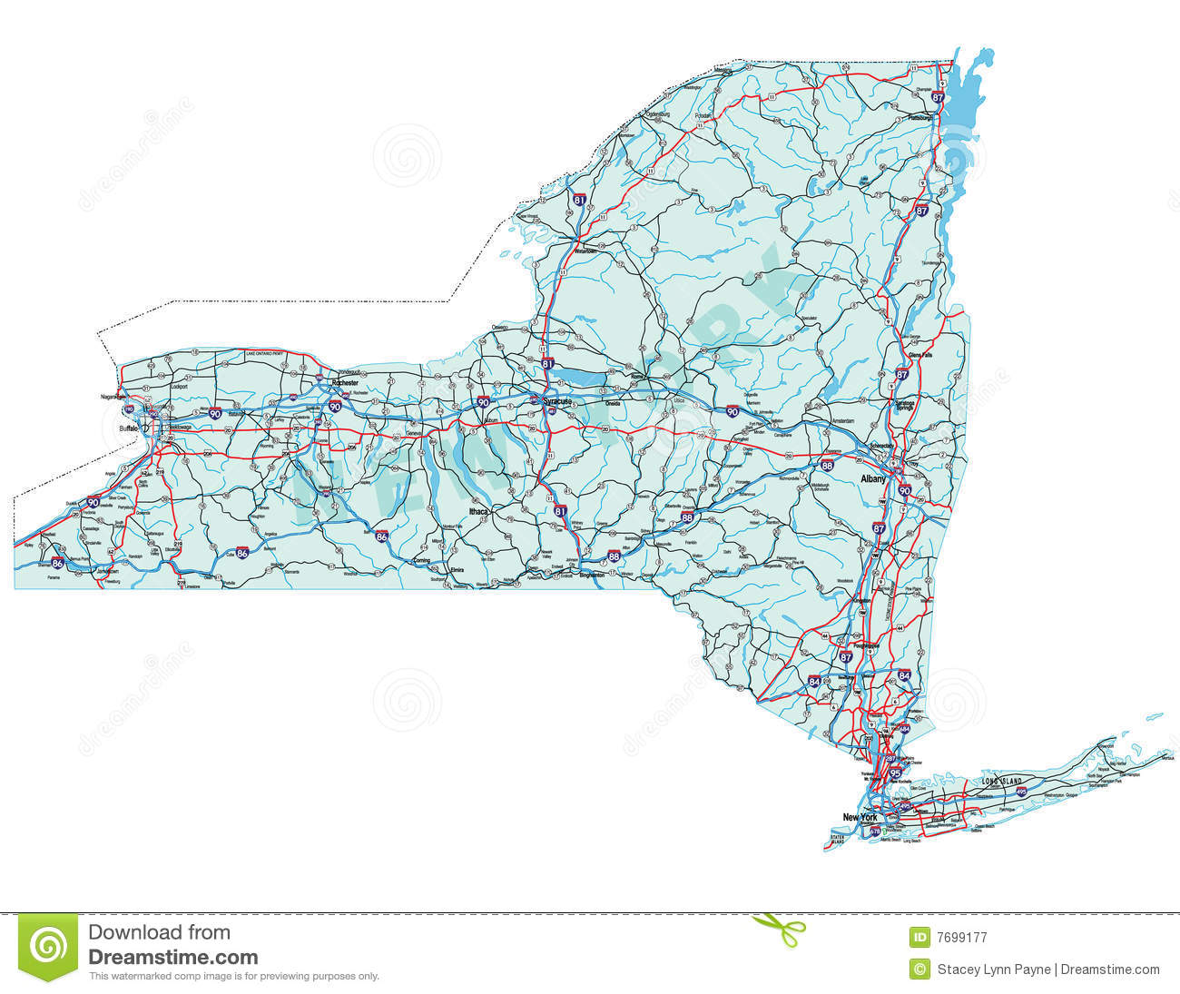 New York State Road Map stock vector Illustration of america 7699177