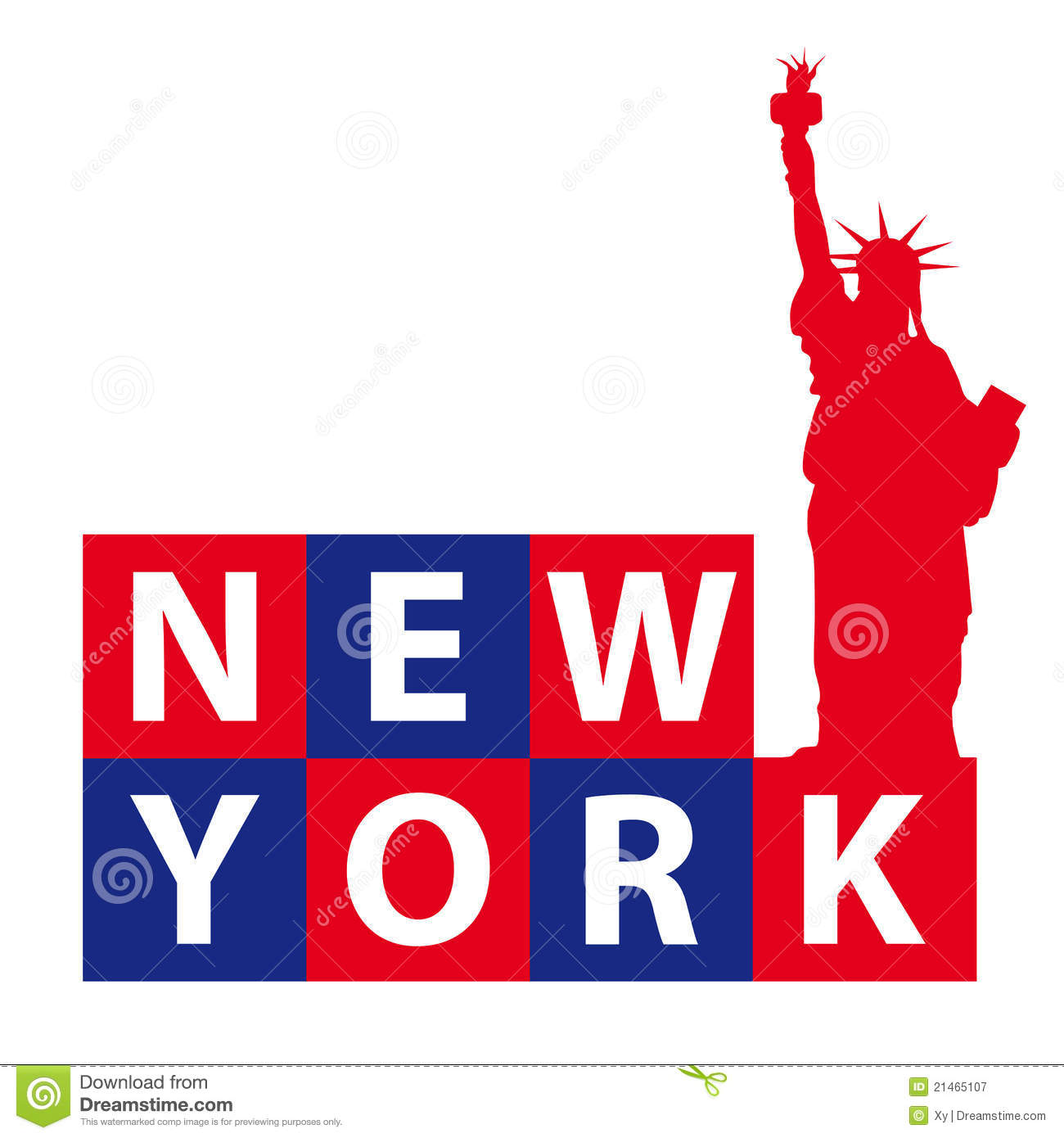 words New York and a red silhouette of the famous Statue of Liberty ...