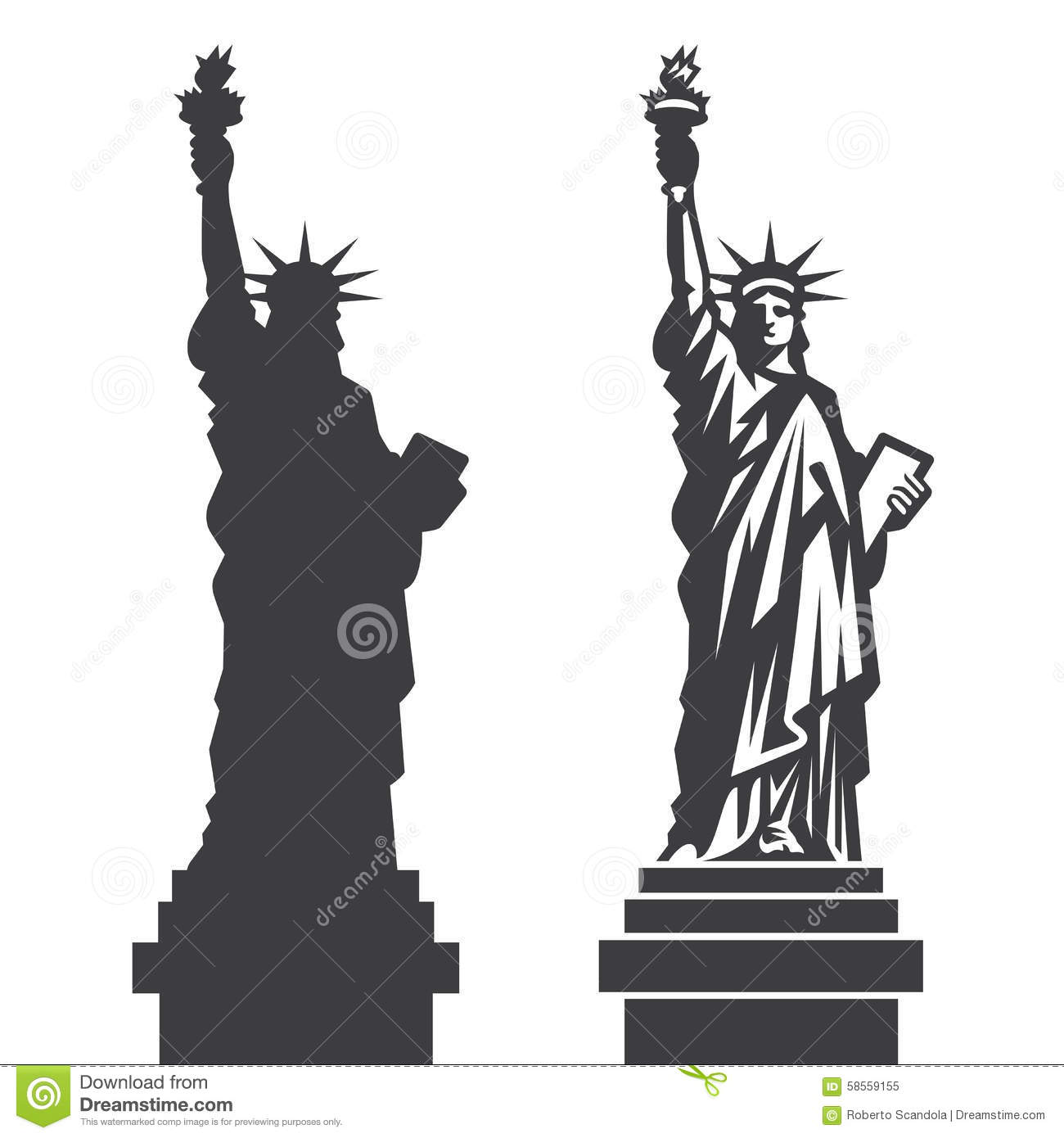 New York Statue Of Liberty Vector Silhouette Stock Vector - Image ...