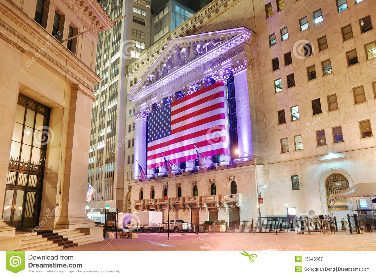 new york stock exchange at night editorial photography image 15645967. Black Bedroom Furniture Sets. Home Design Ideas