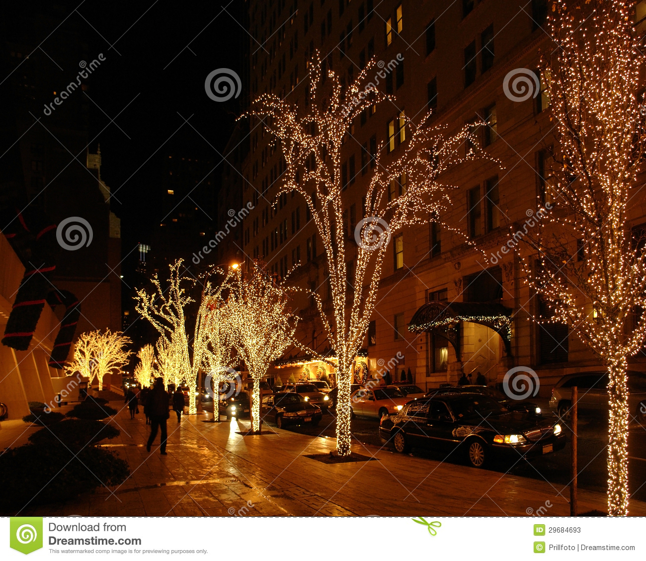 New York During Christmas Time.New York Street Scenery At Christmas Time Stock Image