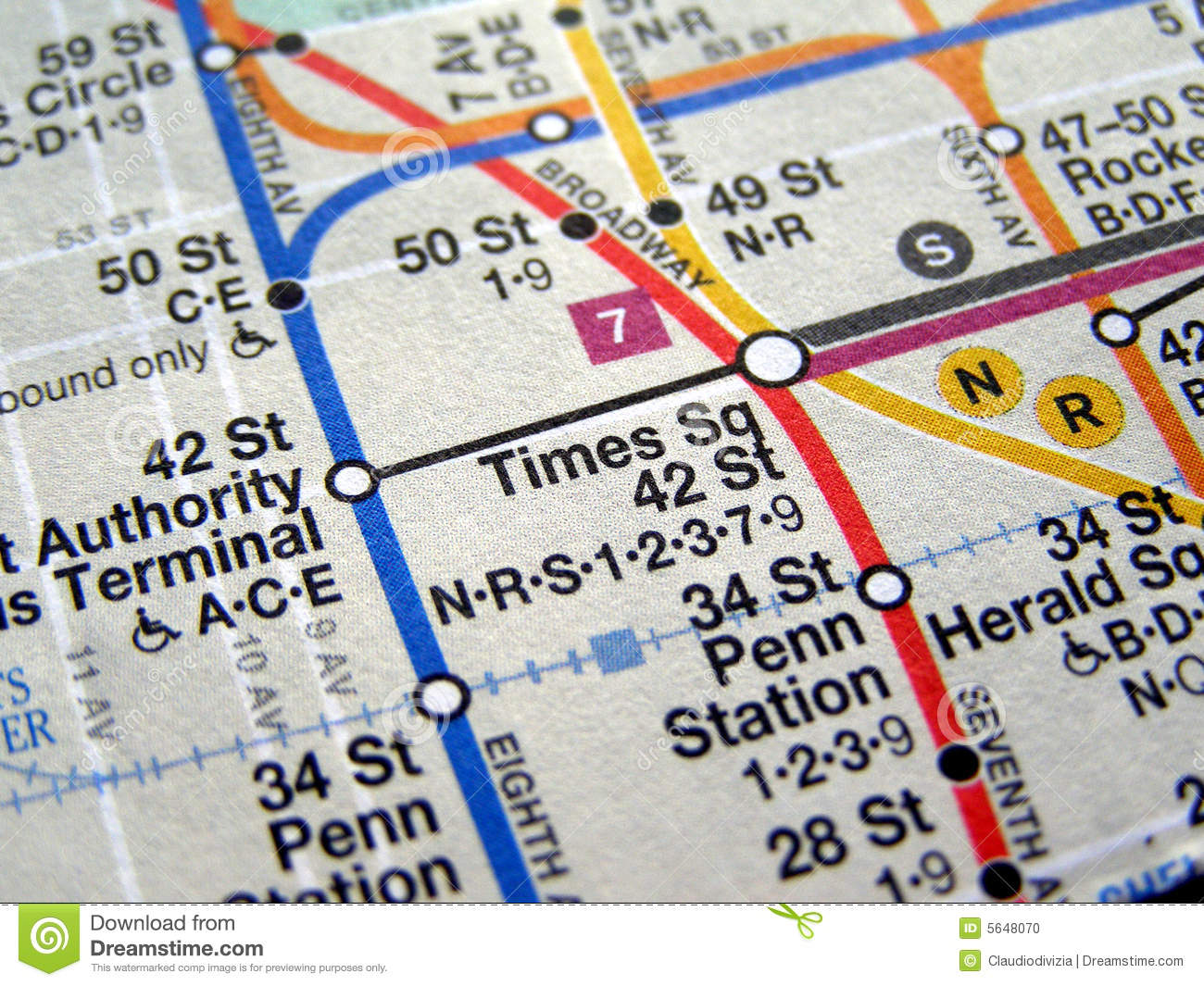 Subway Map Times Square.New York Subway Map Stock Photo Image Of Square Times 5648070