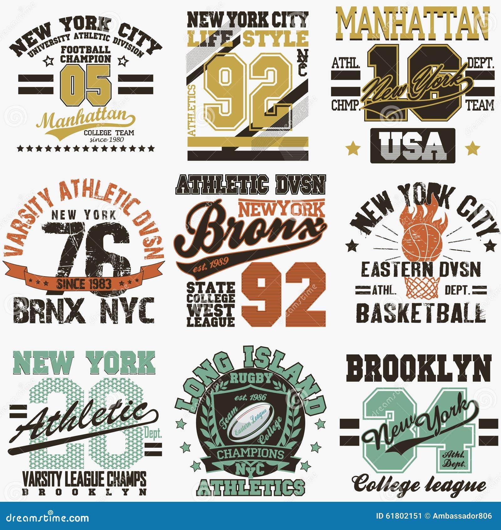 New York T Shirt Set Stock Vector Image 61802151