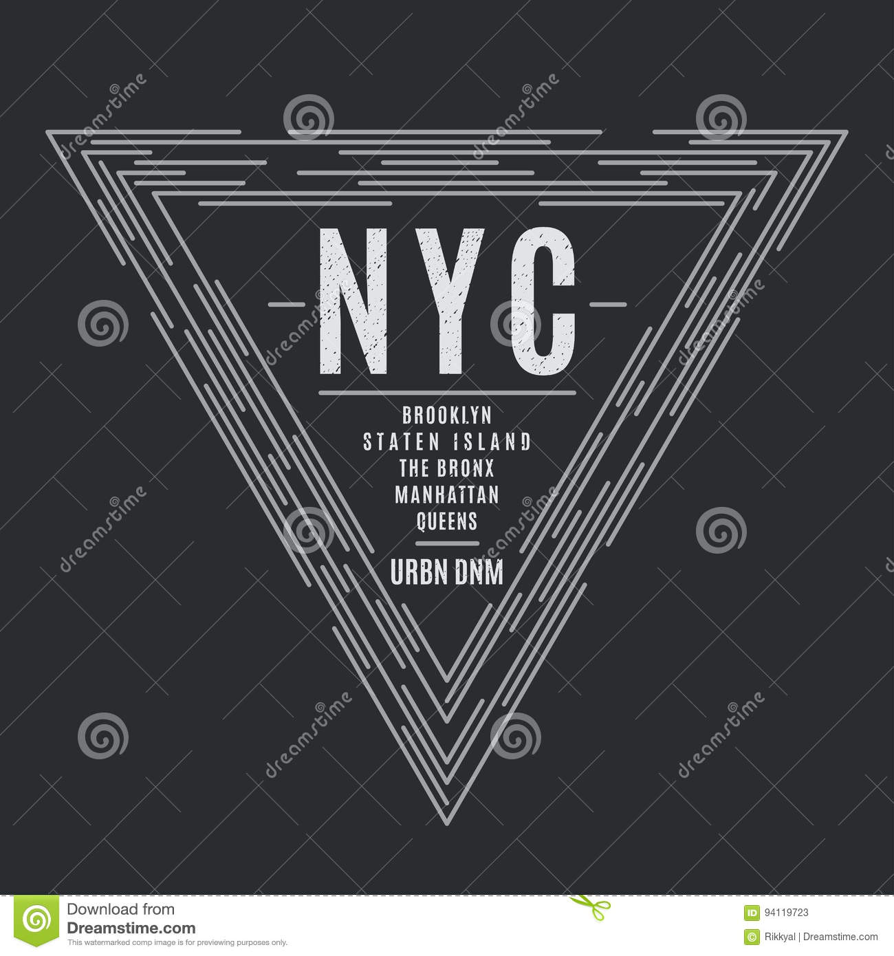 New York Tee Print With The Boroughs Names  Stock Vector