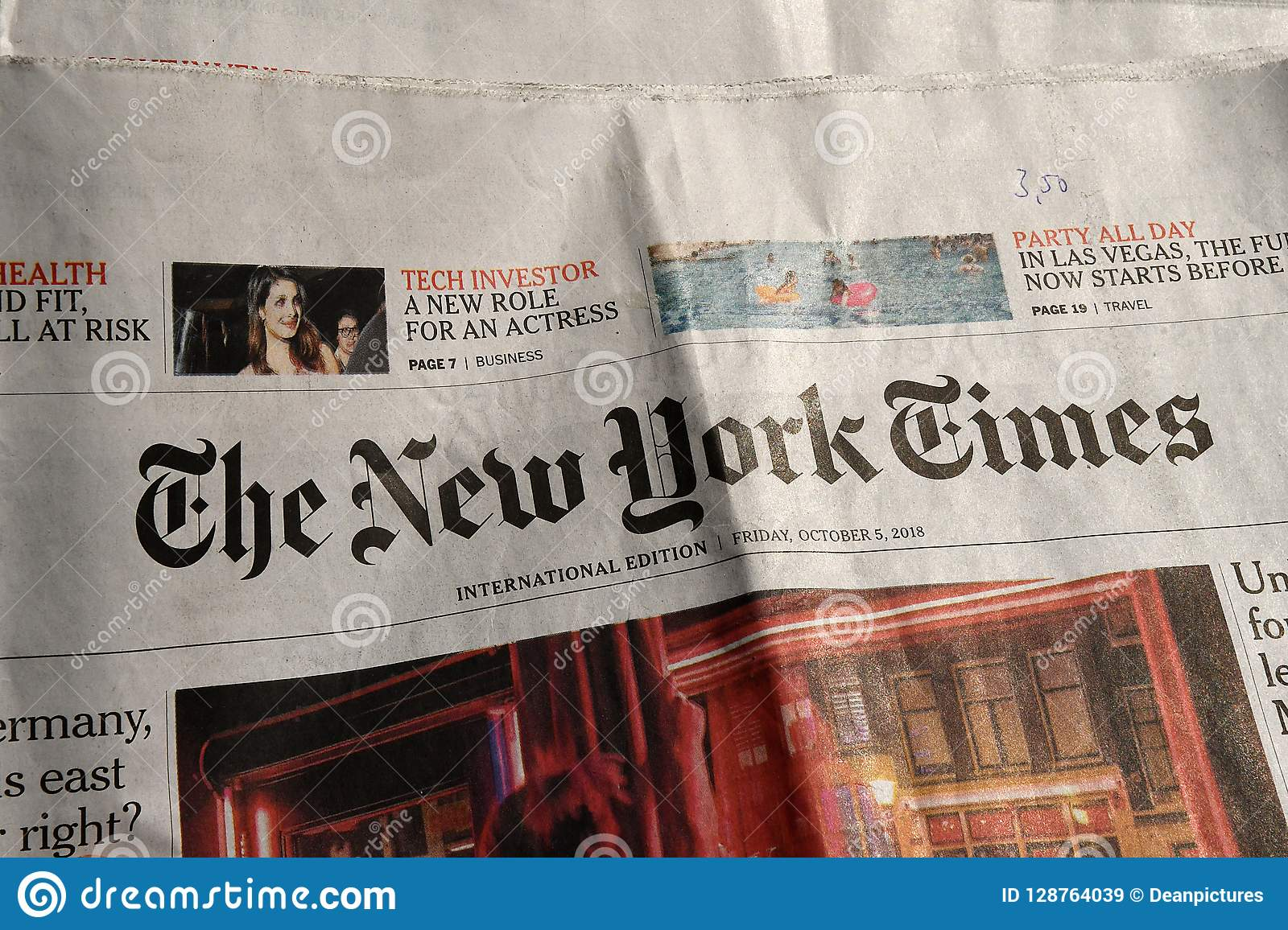 The new york times daily editorial stock image. Image of