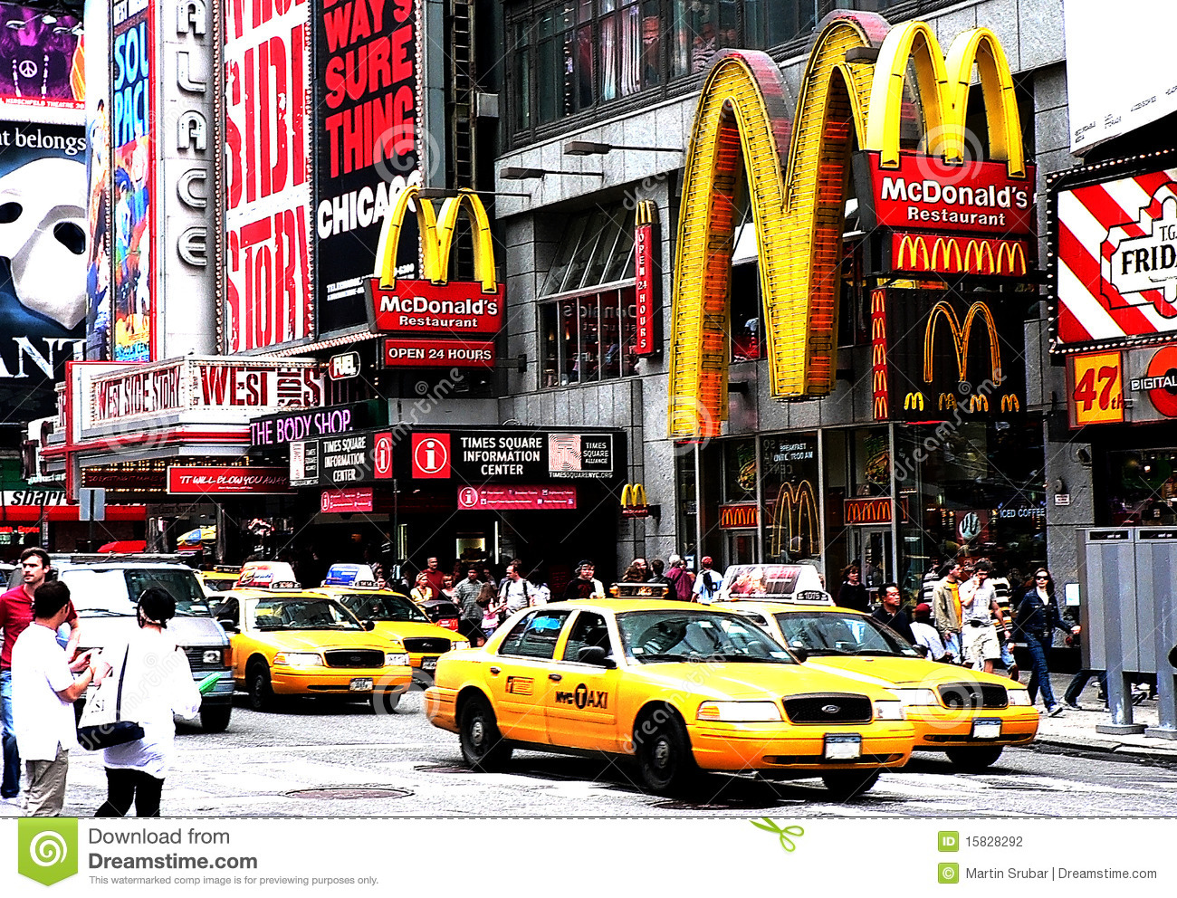 new york times square mc donalds et taxis photographie ditorial image 15828292. Black Bedroom Furniture Sets. Home Design Ideas