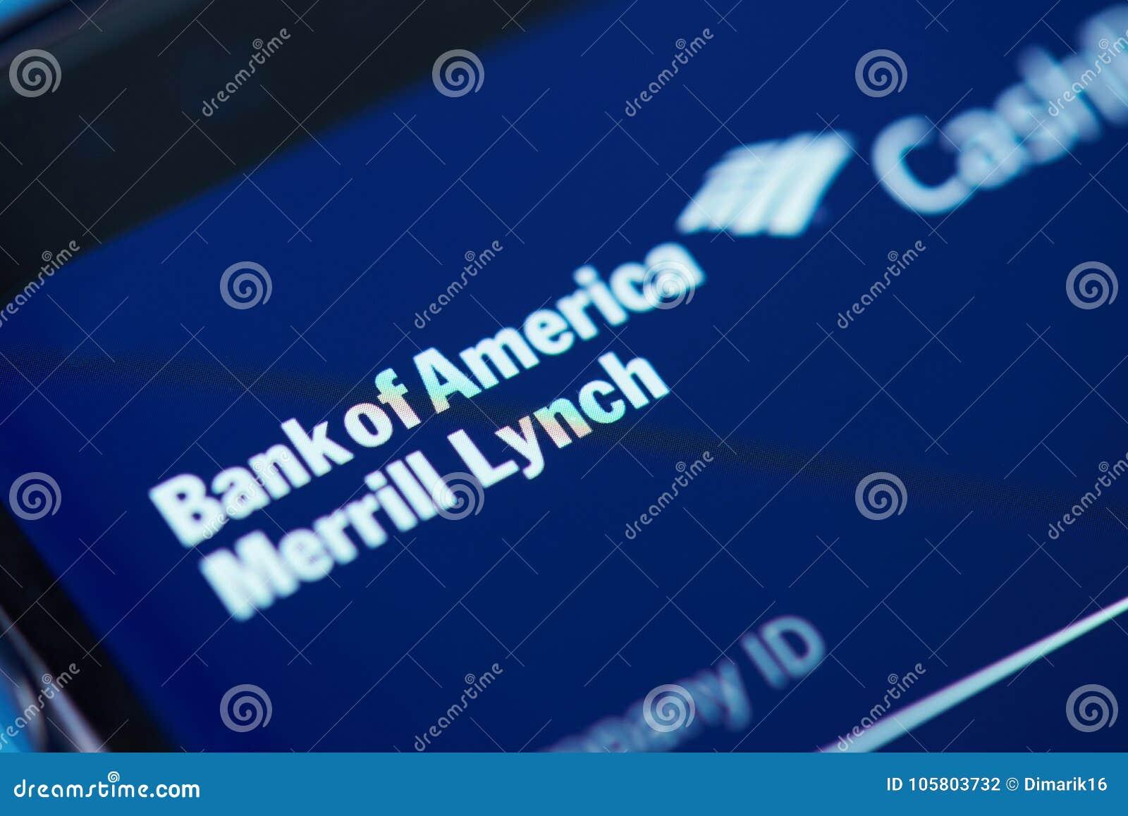 Bank Of America Moblie App Menu Editorial Photography