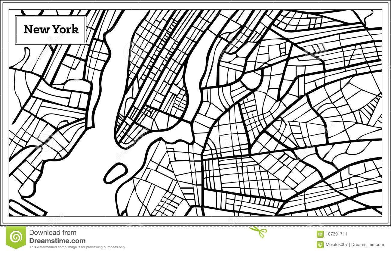 New York Map Black And White.New York Usa Map In Black And White Color Stock Vector