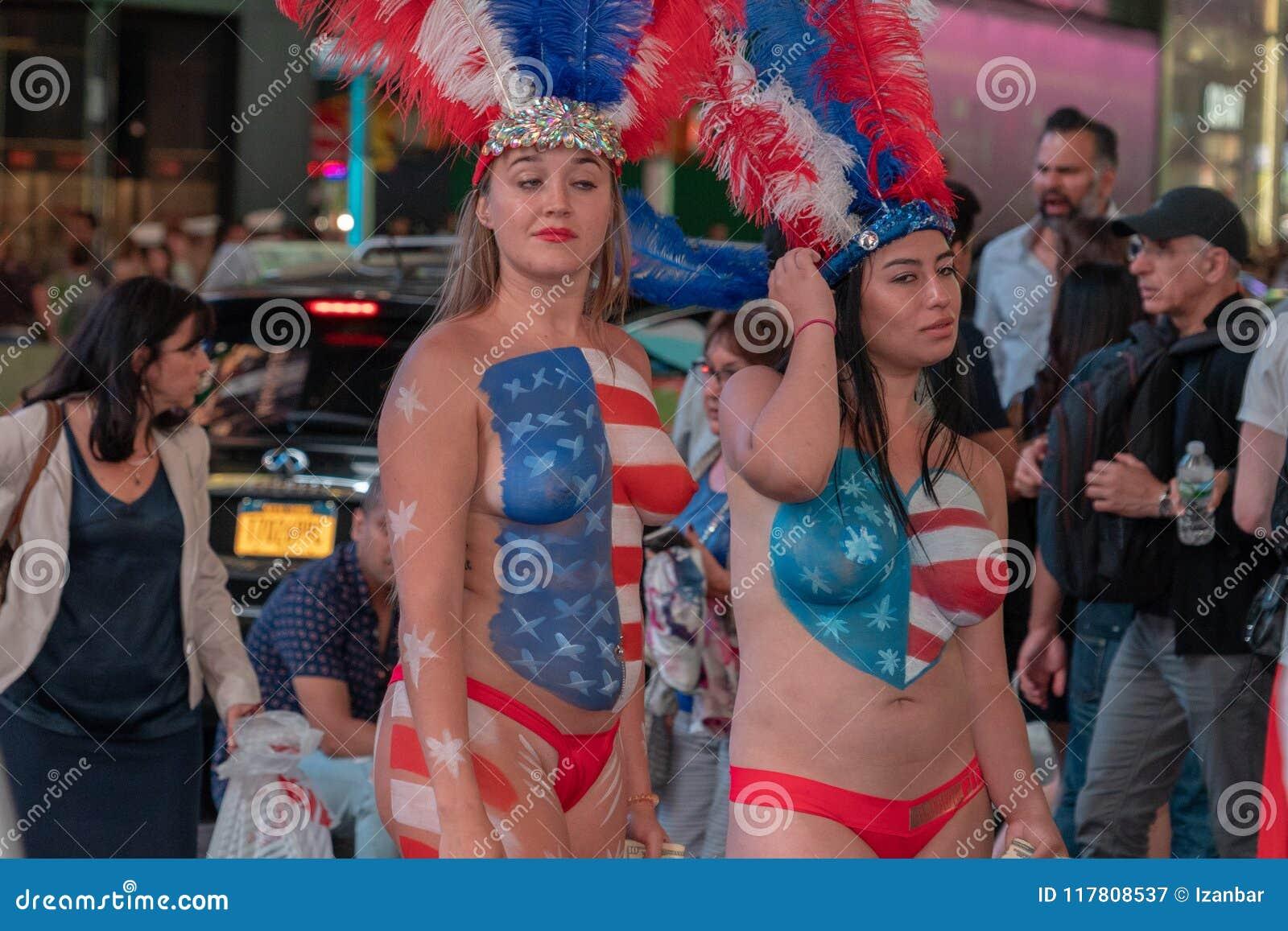 Naked girl american flag speaking