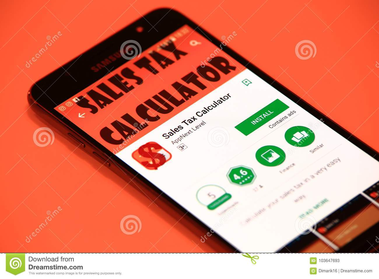 sales tax calculator application editorial stock photo image of