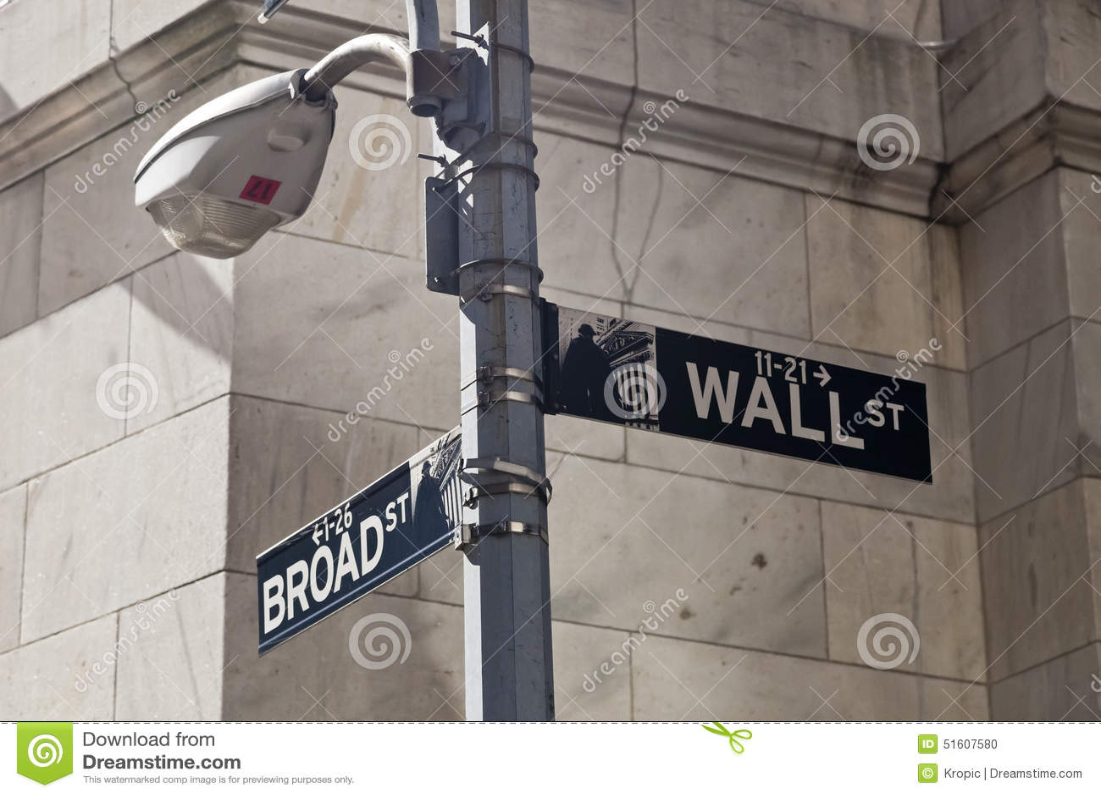 New York USA - Wall Street gatatecken på polen