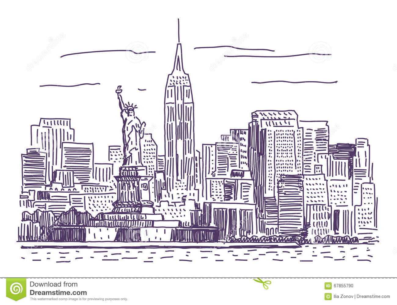 new york vector drawing stock vector illustration of cityscape