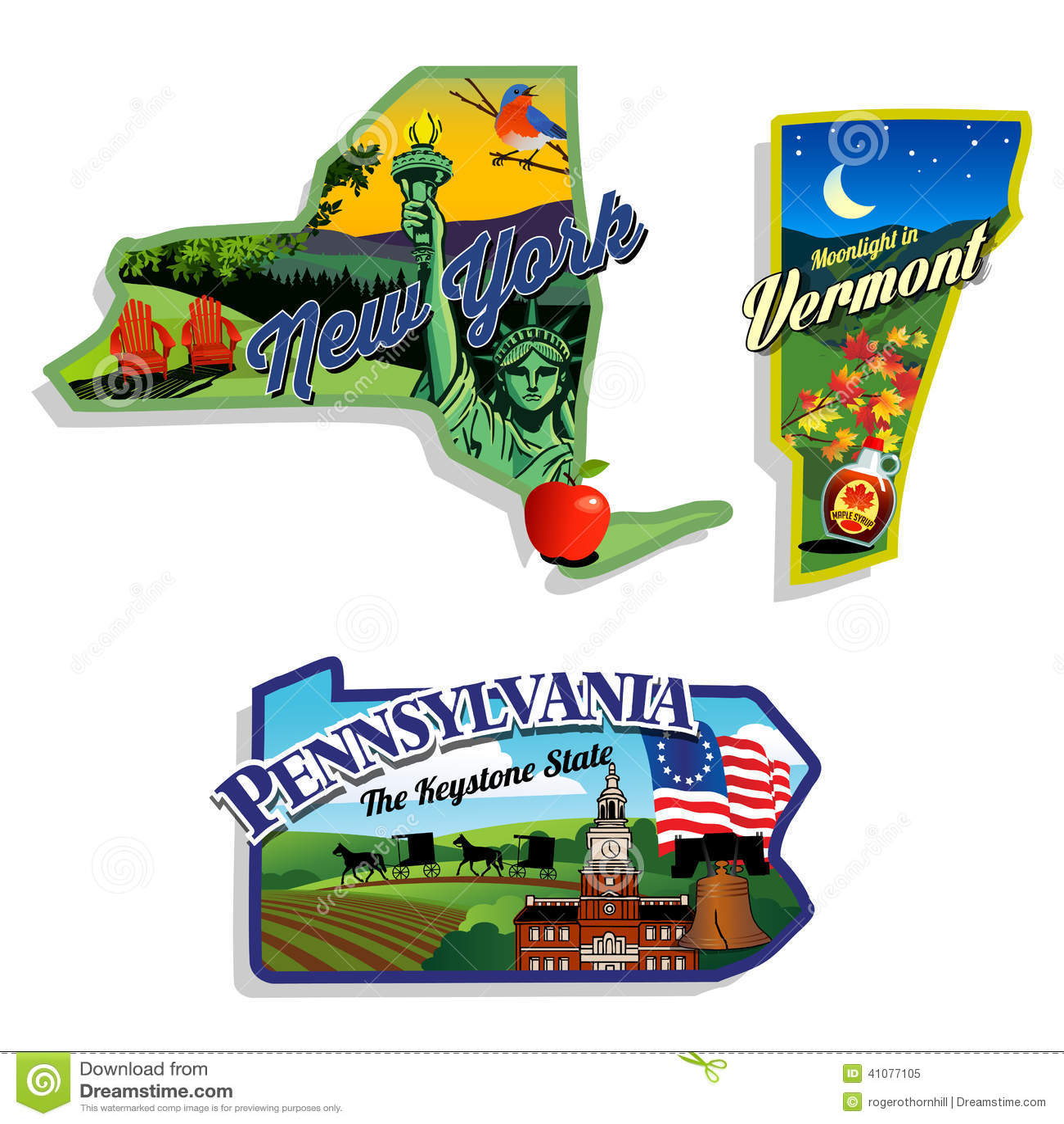 New York Vermont Pennsylvania Scenic Illustratio Stock