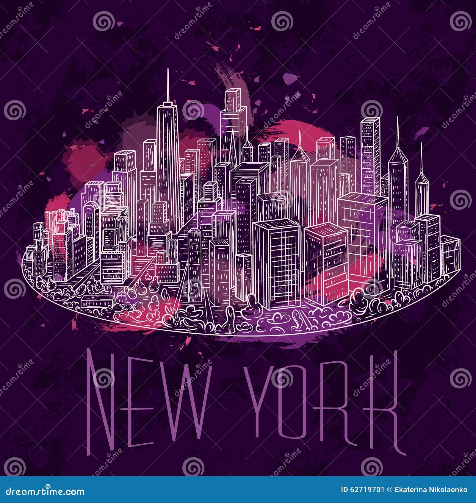 Town Landscape Vector Illustration: New York. Vintage Colorful Hand Drawn Night City Landscape