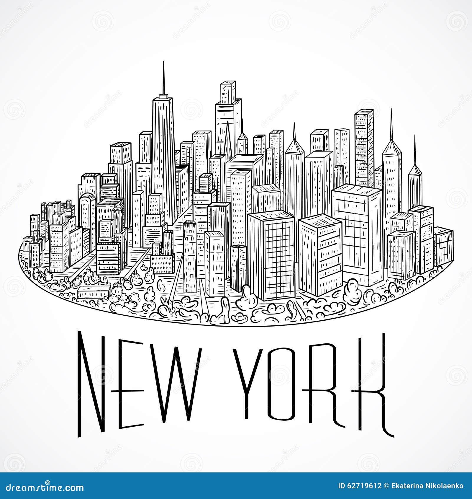 Line Art New York City : New york vintage hand drawn city landscape vector