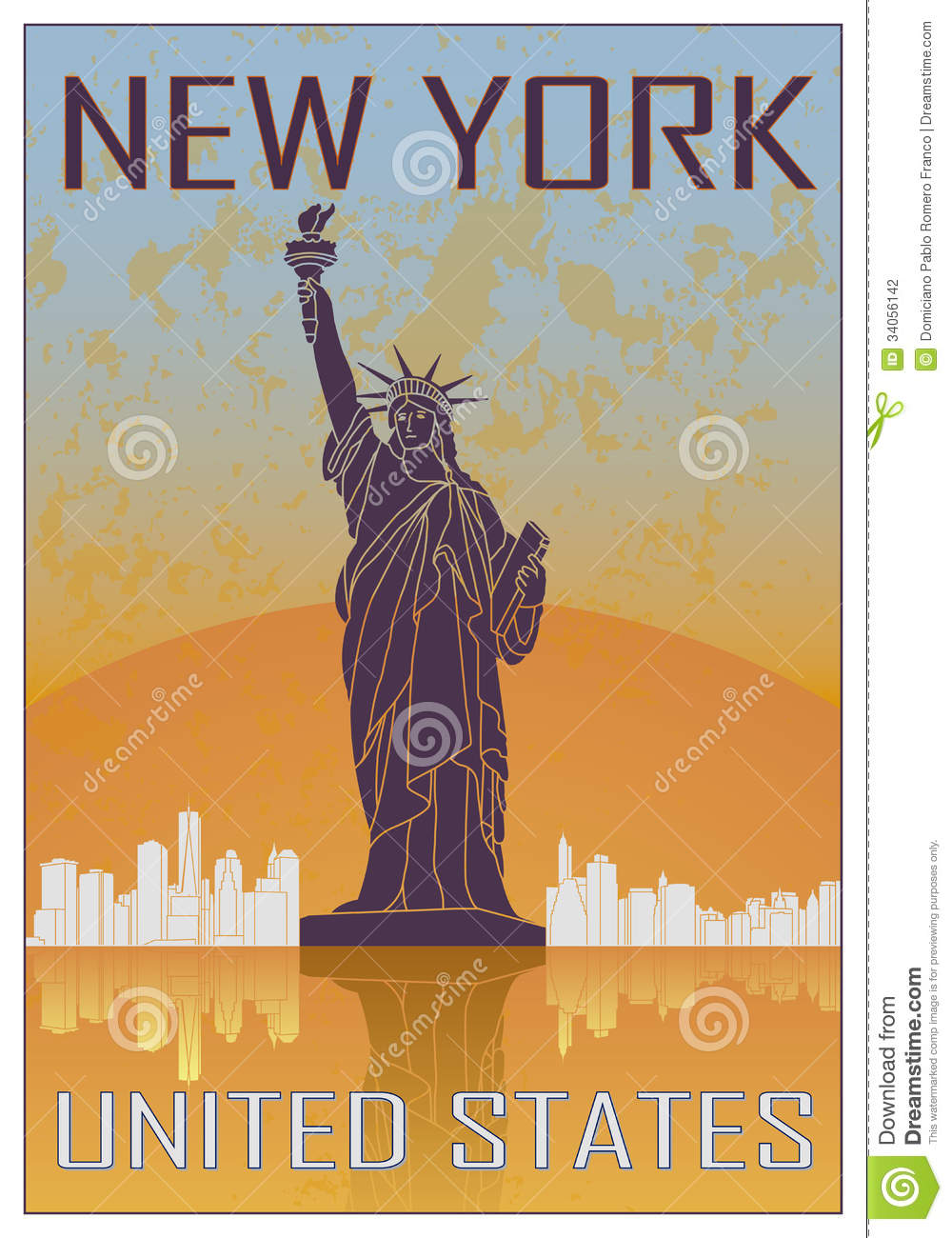 New York Vintage Poster Stock Photography Image 34056142