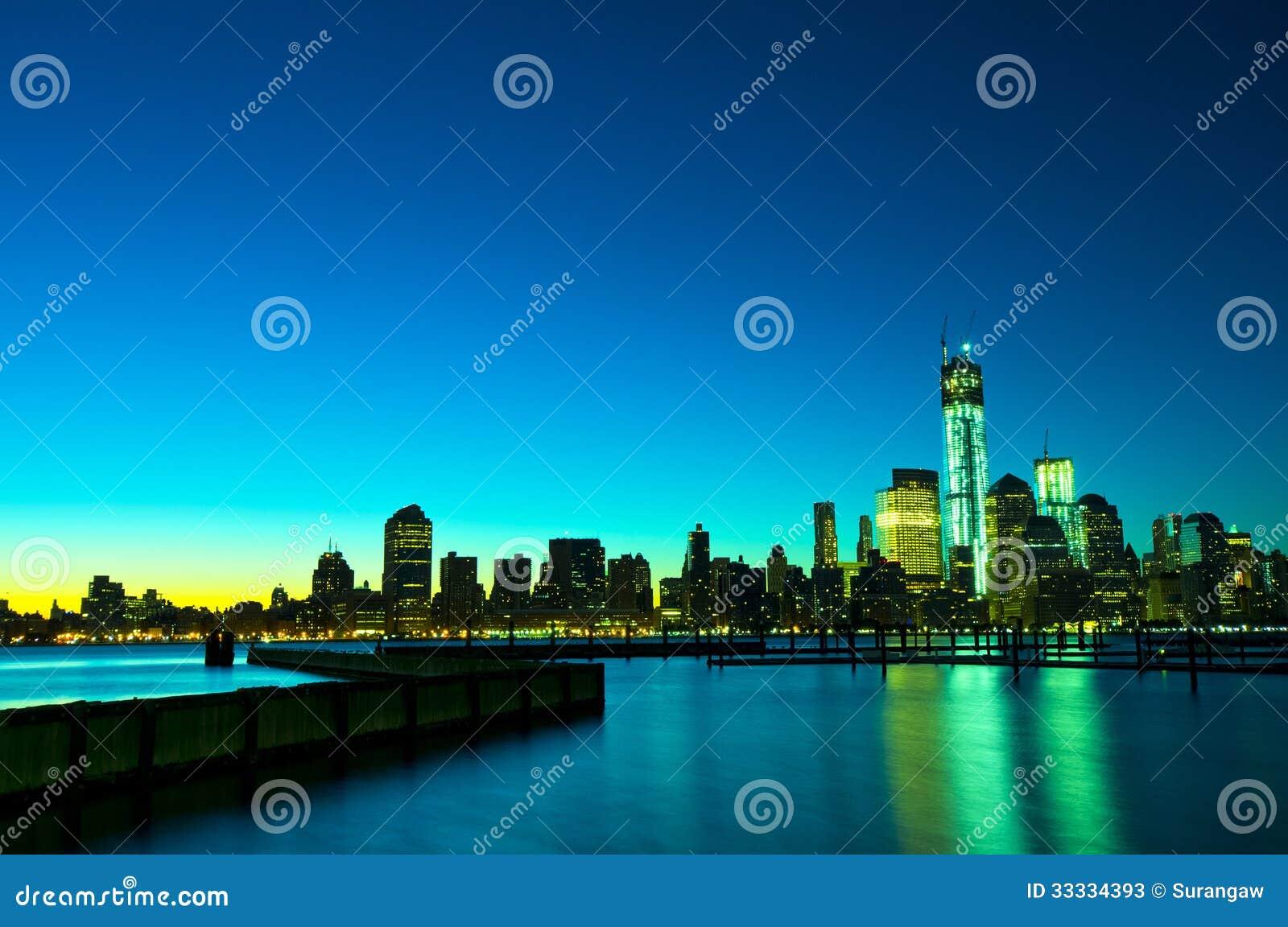 New- Yorkskyline nachts, USA