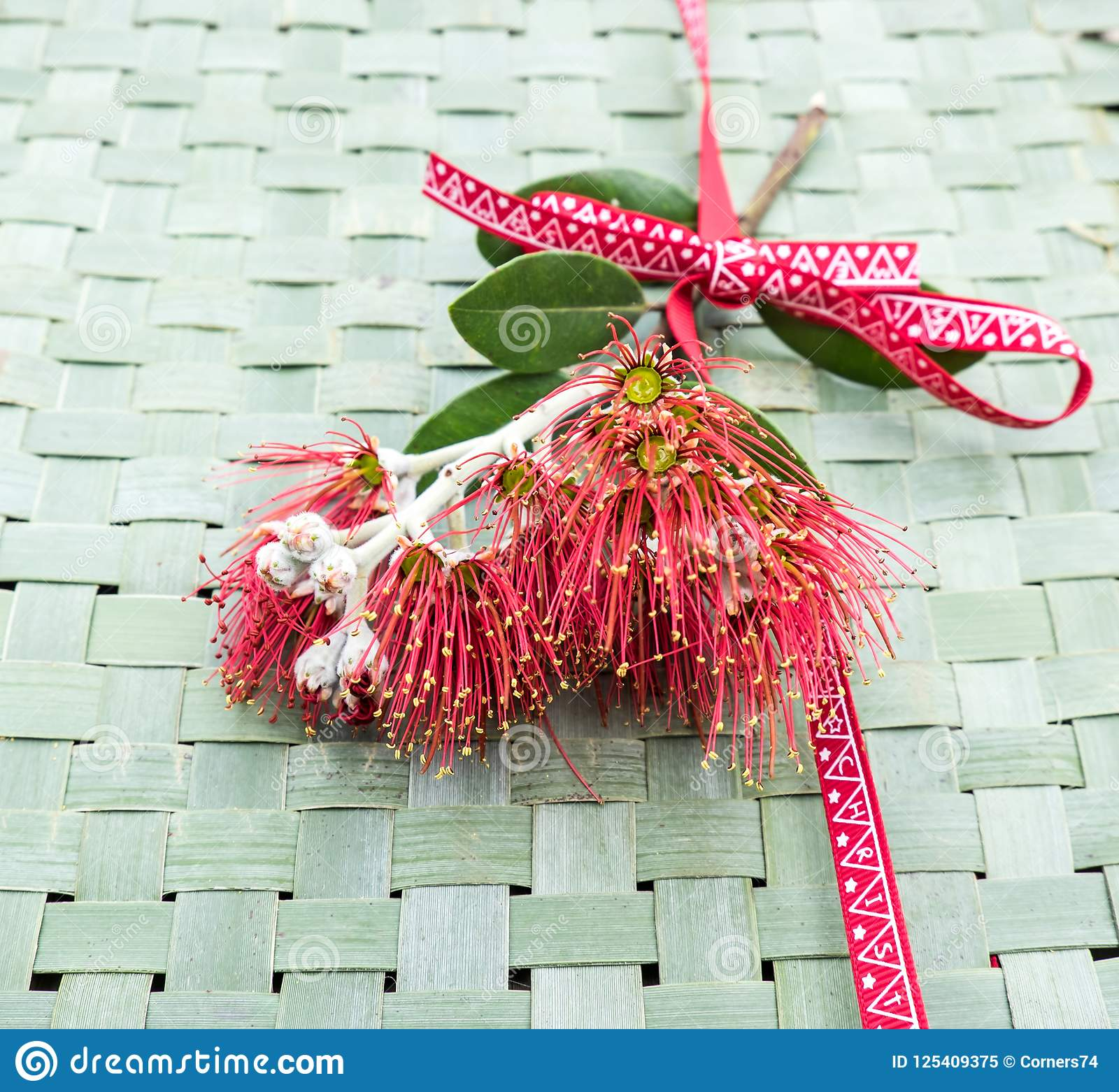 New Zealand Christmas Tree.New Zealand Christmas Tree Or Pohutukawa Flower On Woven