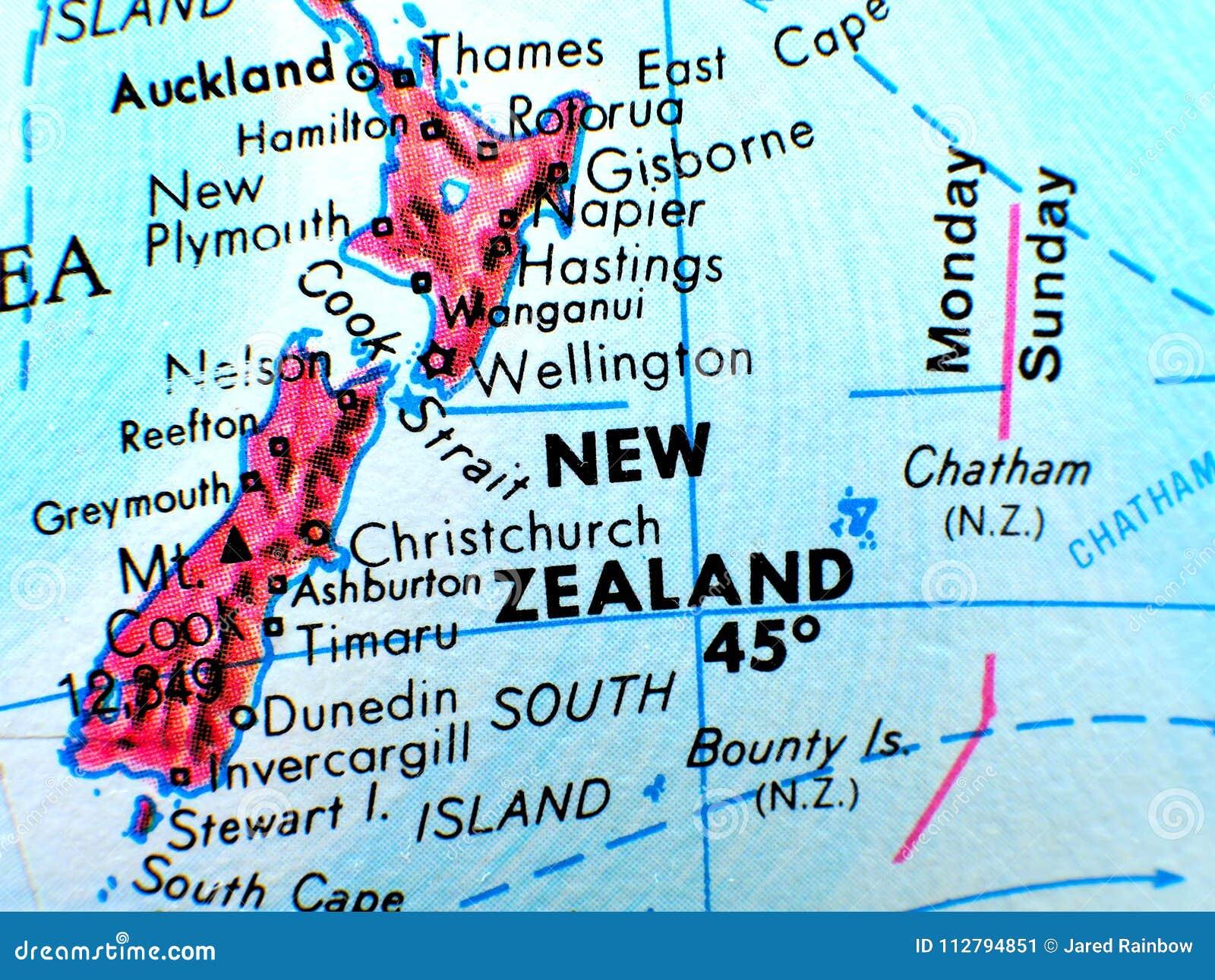 Travel Map New Zealand.New Zealand Focus Macro Shot On Globe Map For Travel Blogs Social