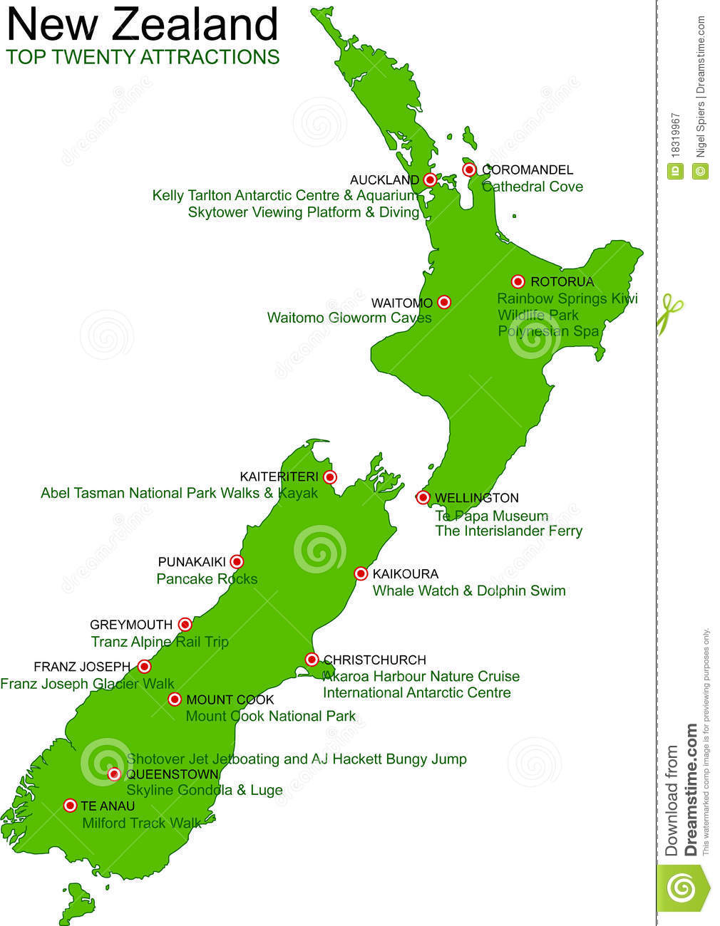 A Detailed Green Map Of New Zealand On A White Background. Includes Top  Twenty NZ Attractions, Things To Do And Place Names. Vector Illustration  May Be ...