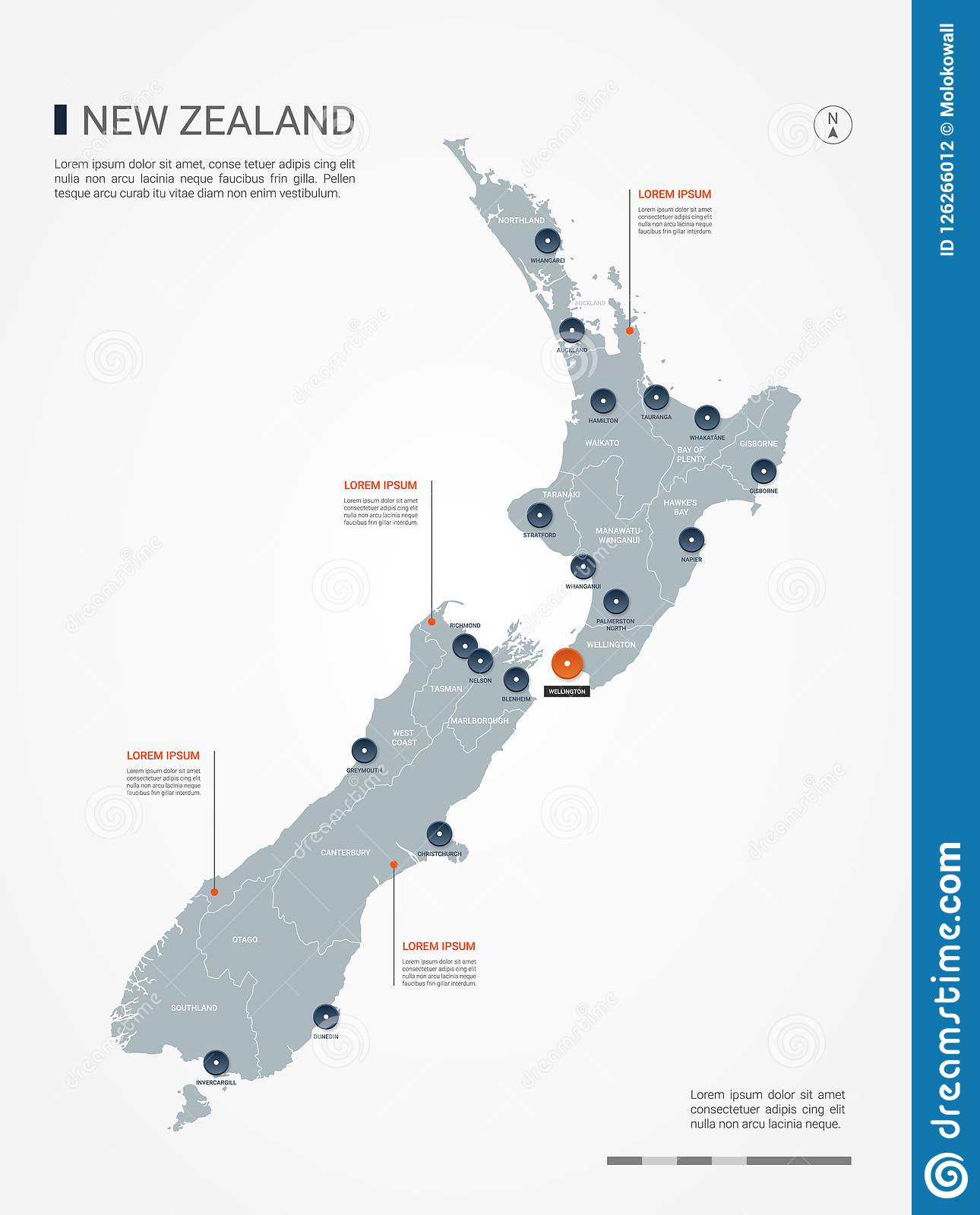 New Zealand Infographic Map Vector Illustration. Stock Vector ...