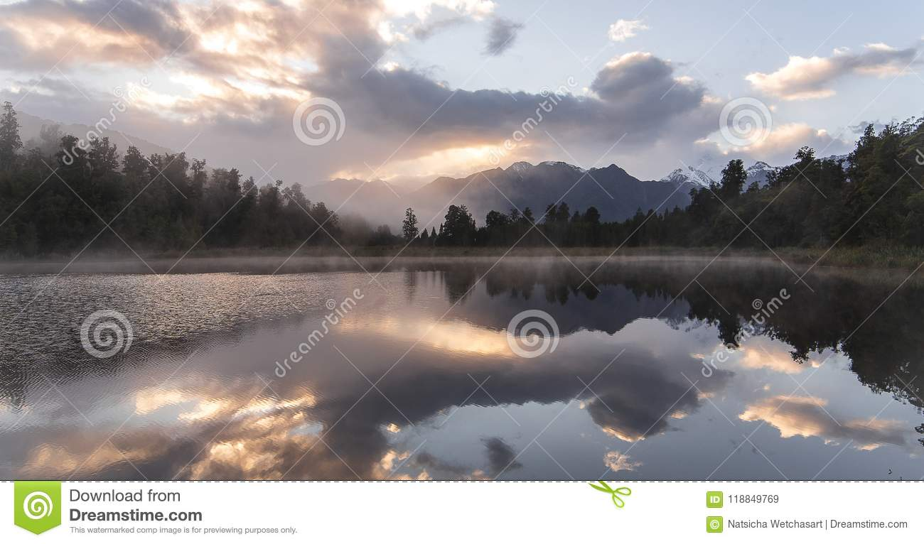 New Zealand lake view refection with morning sunrise sky