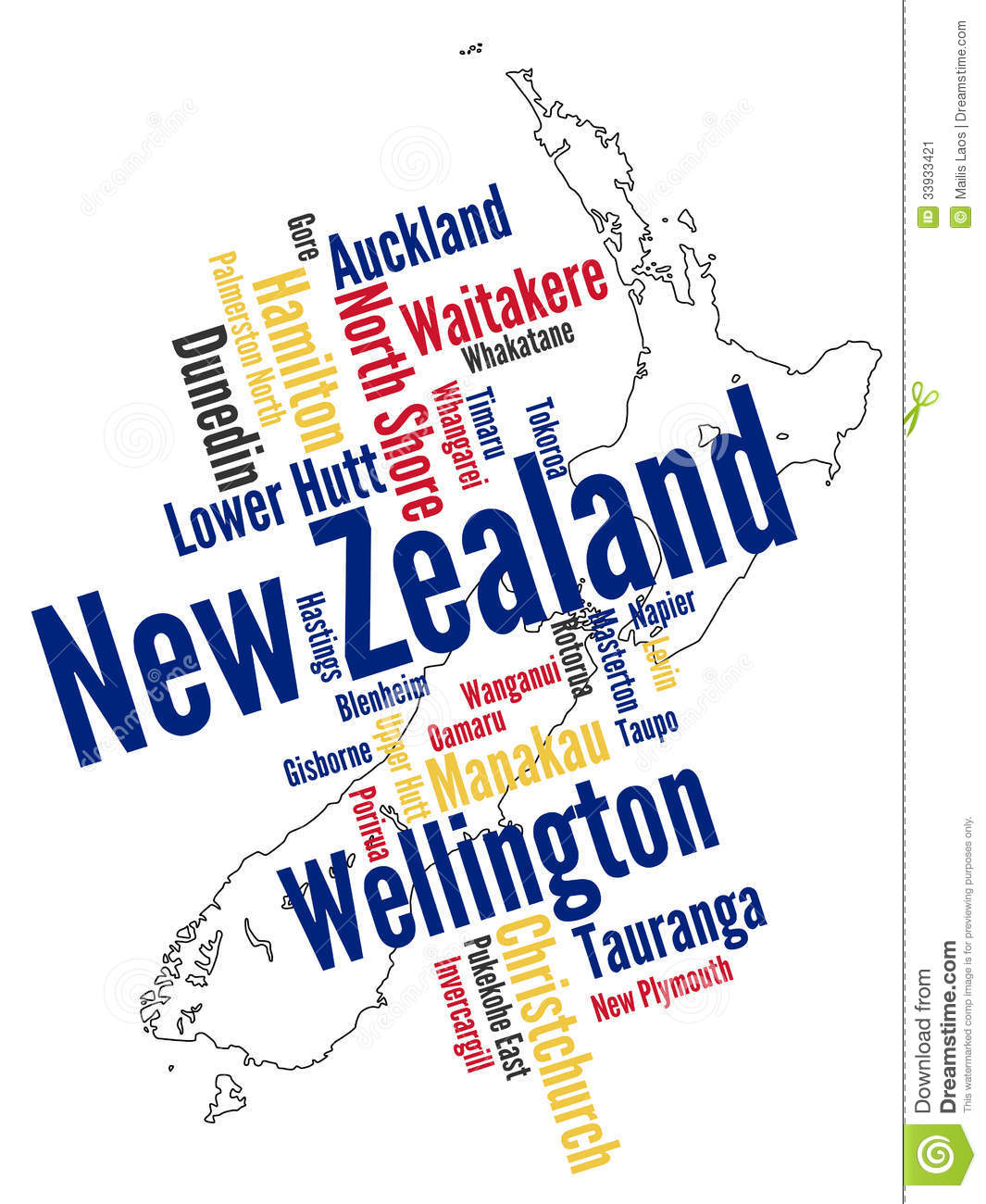 Download New Zealand map and cities stock vector. Illustration of text - 33933421