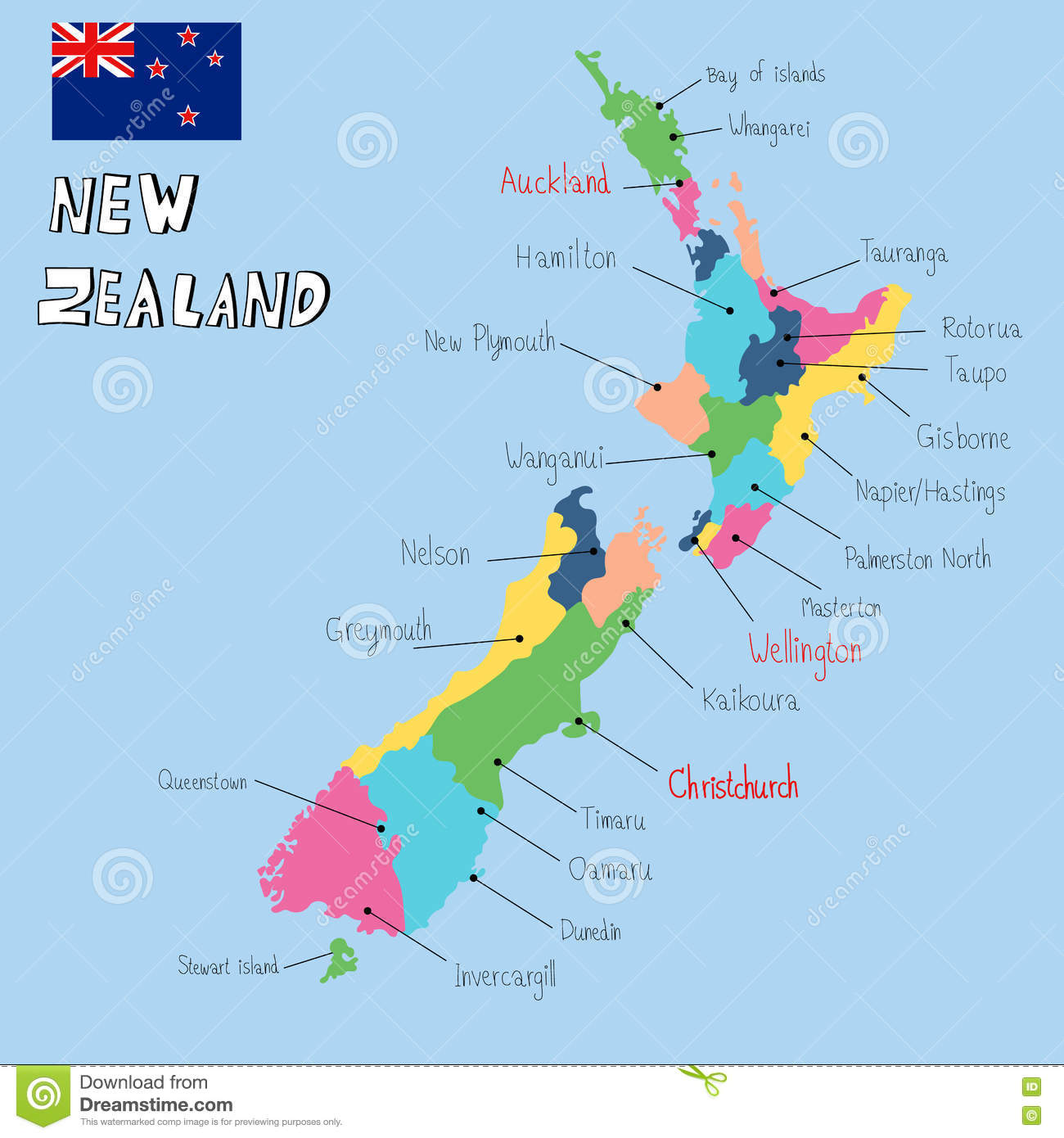 Where Is Christchurch New Zealand On The Map.New Zealand Map Hand Draw Vector Stock Vector Illustration Of
