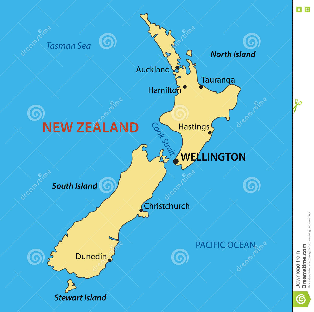 New Zealand - vector map stock vector. Illustration of capital ... on
