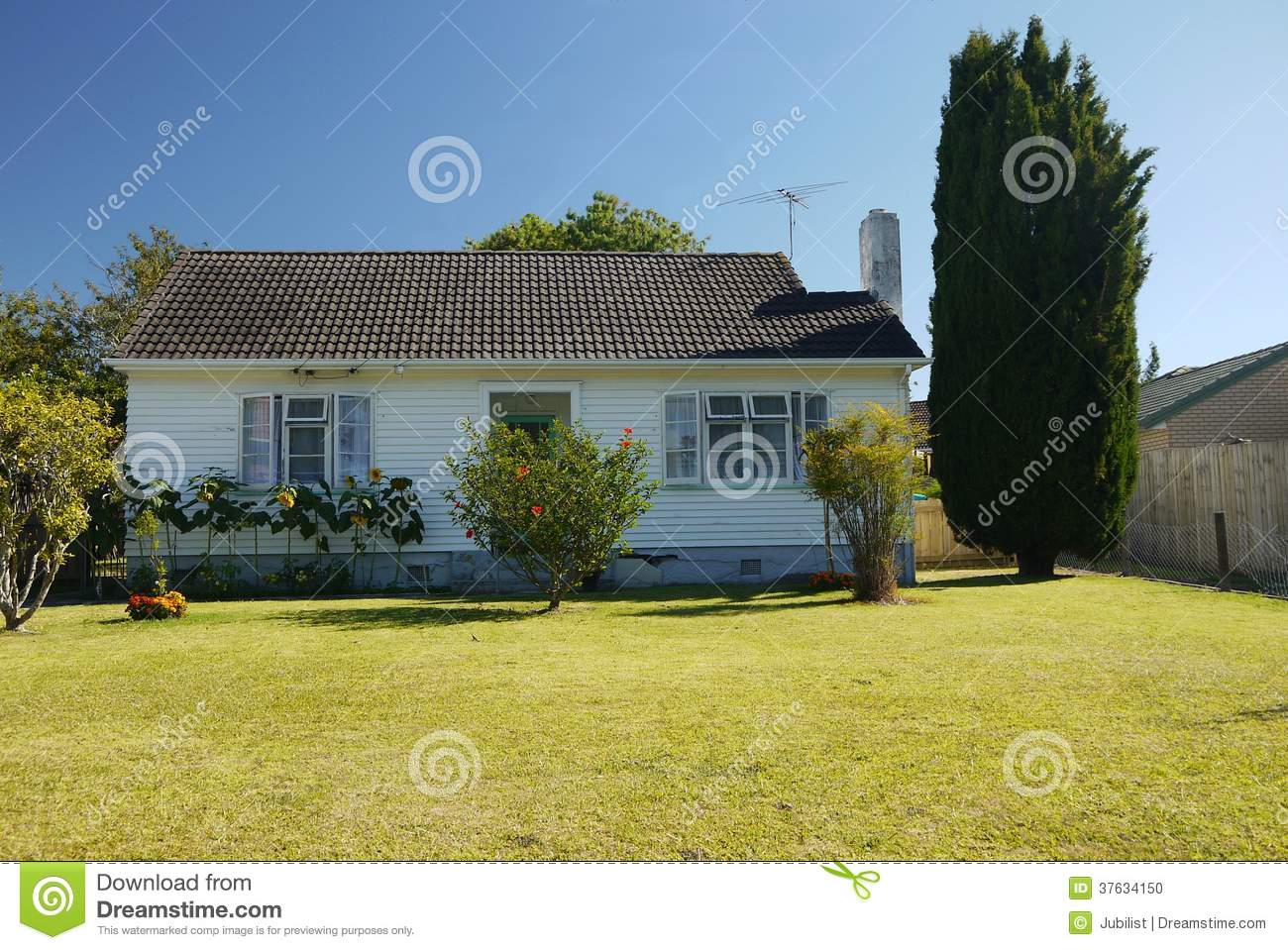 New Zealand Ordinary Small House With Lawn Stock Photo Image Of Bungalow Building 37634150