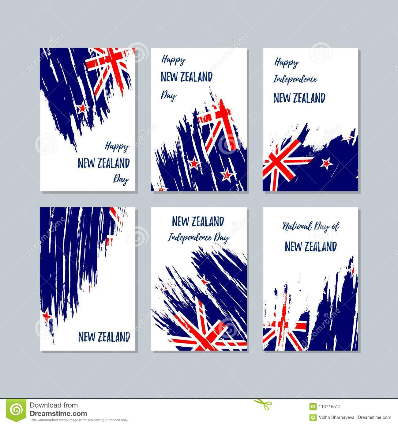 New Zealand Patriotic Cards For National Day Stock Vector