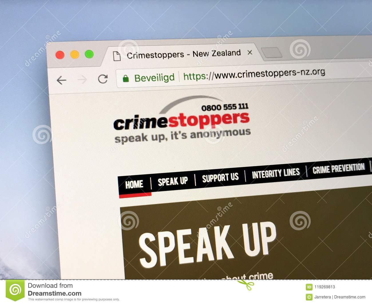 New Zealand`s Crimestoppers Website  Editorial Stock Photo - Image