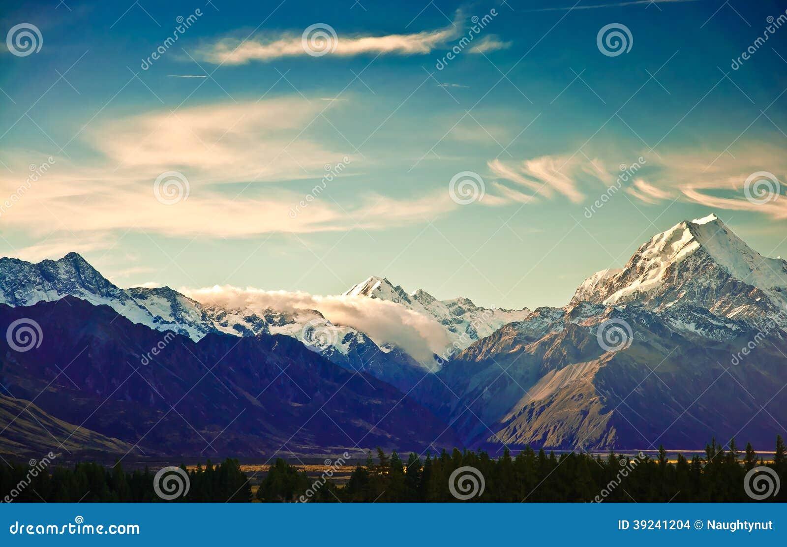 New Zealand scenic mountain landscape