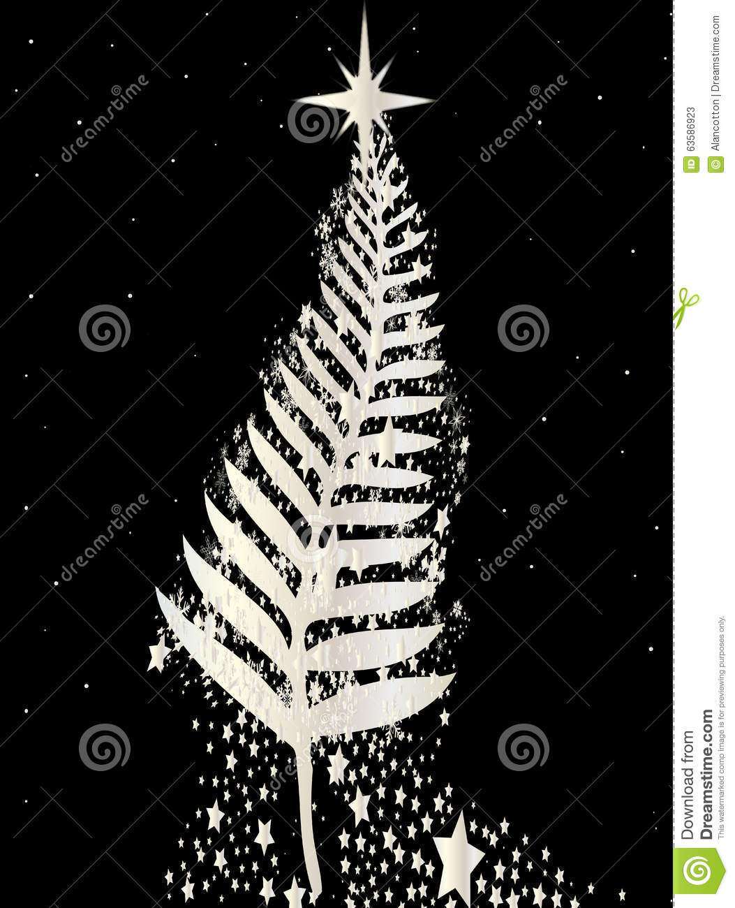 New Zealand SIlver Fern Christmas Tree Stock Illustration ...