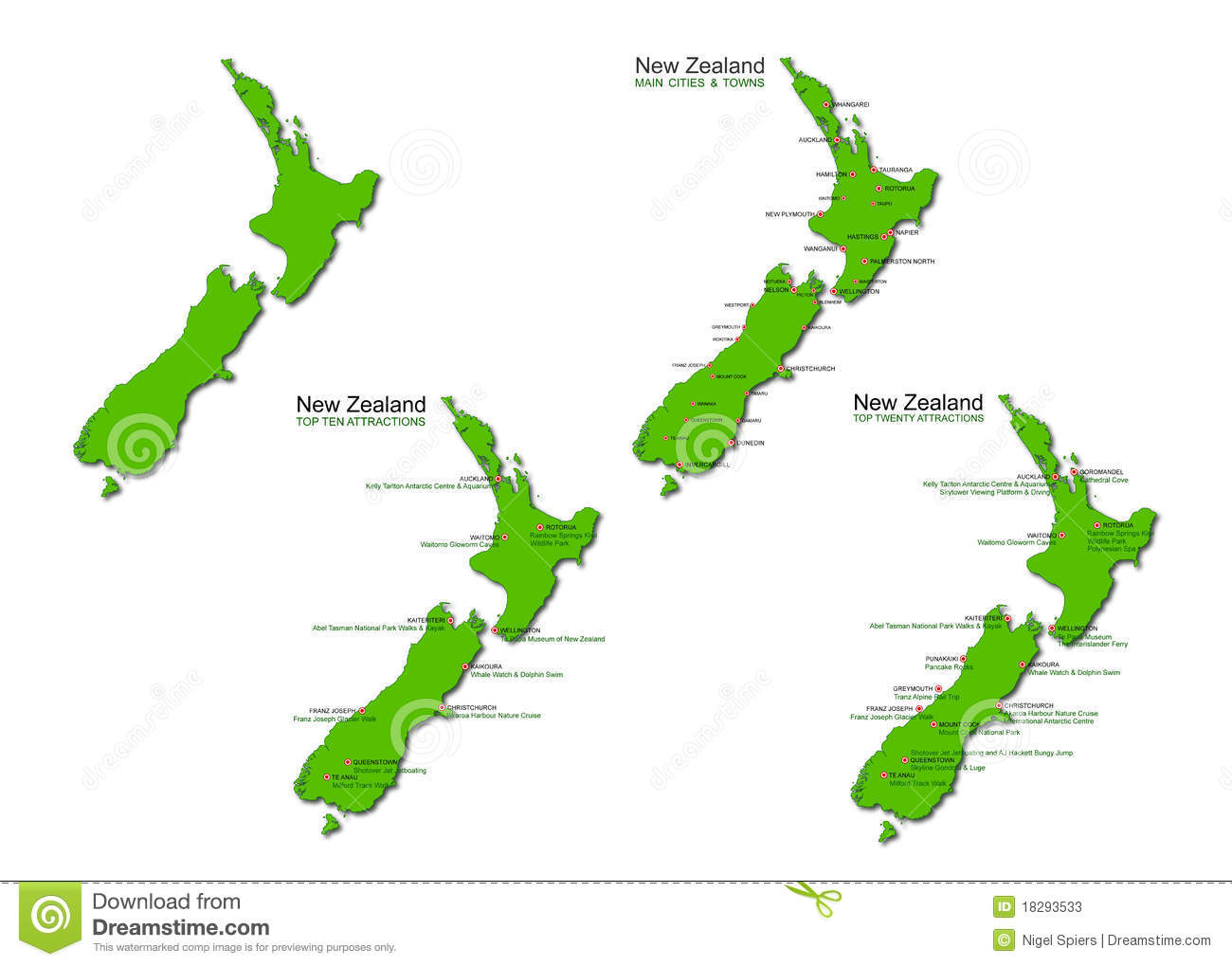 New Zealand Tourism Vector Maps Set