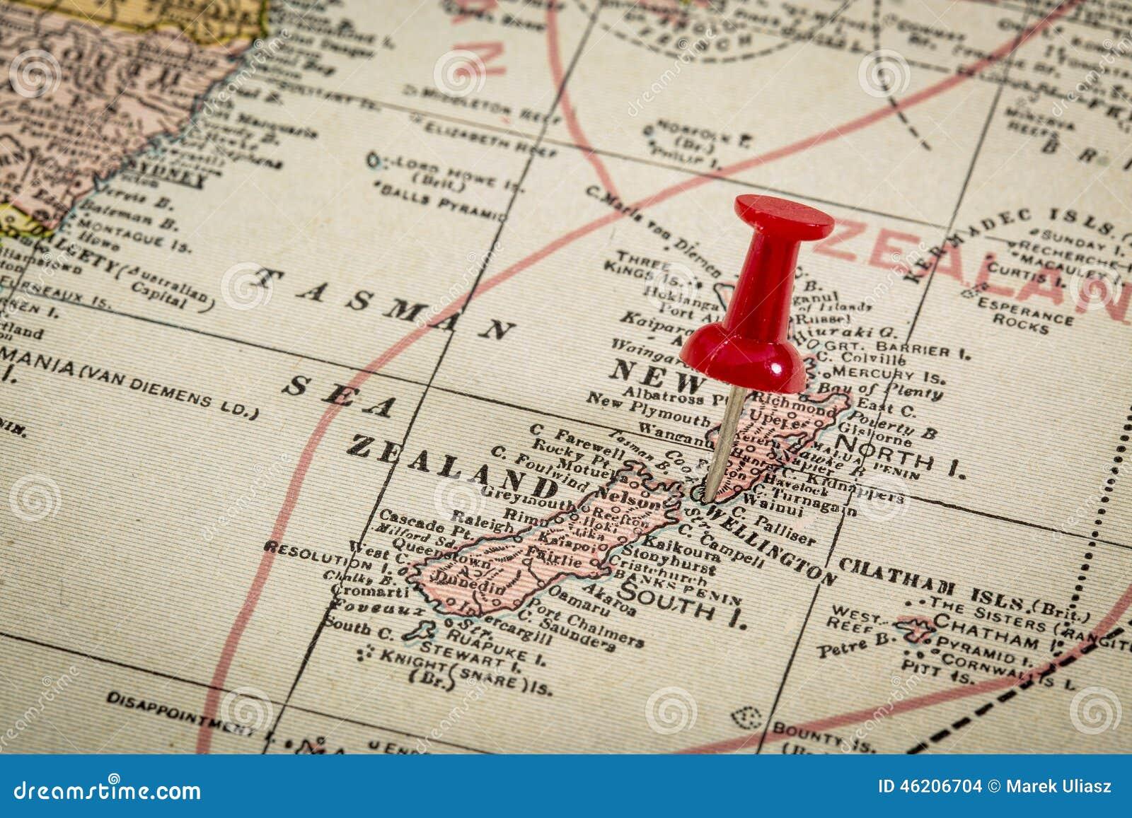 Map Wellington New Zealand.New Zealand On Vintage Map Stock Photo Image Of City 46206704