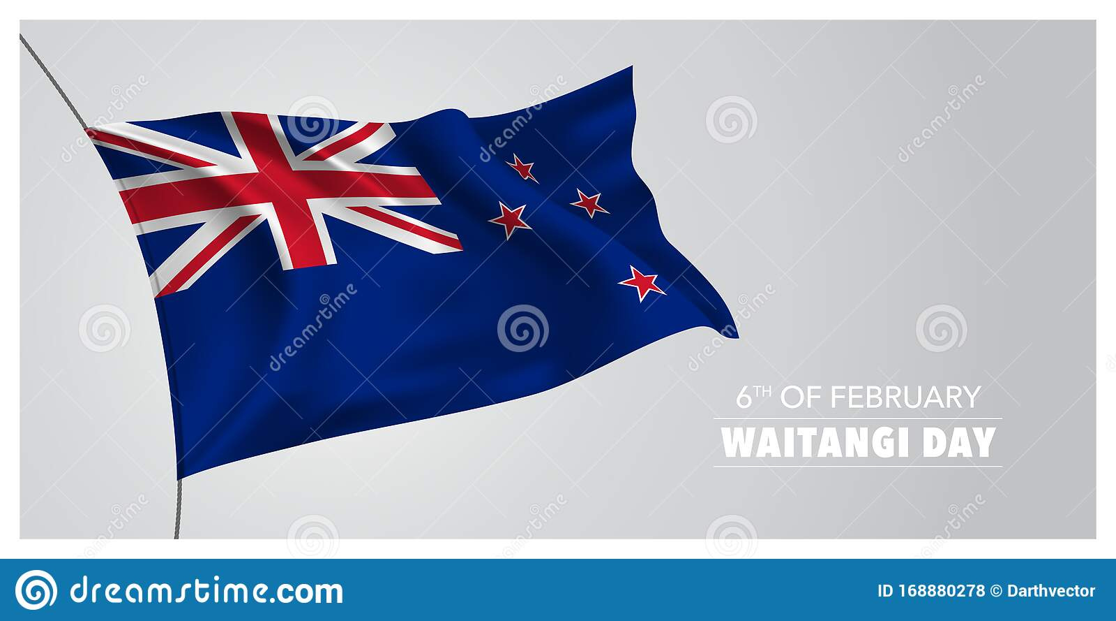 new zealand waitangi day greeting card banner horizontal