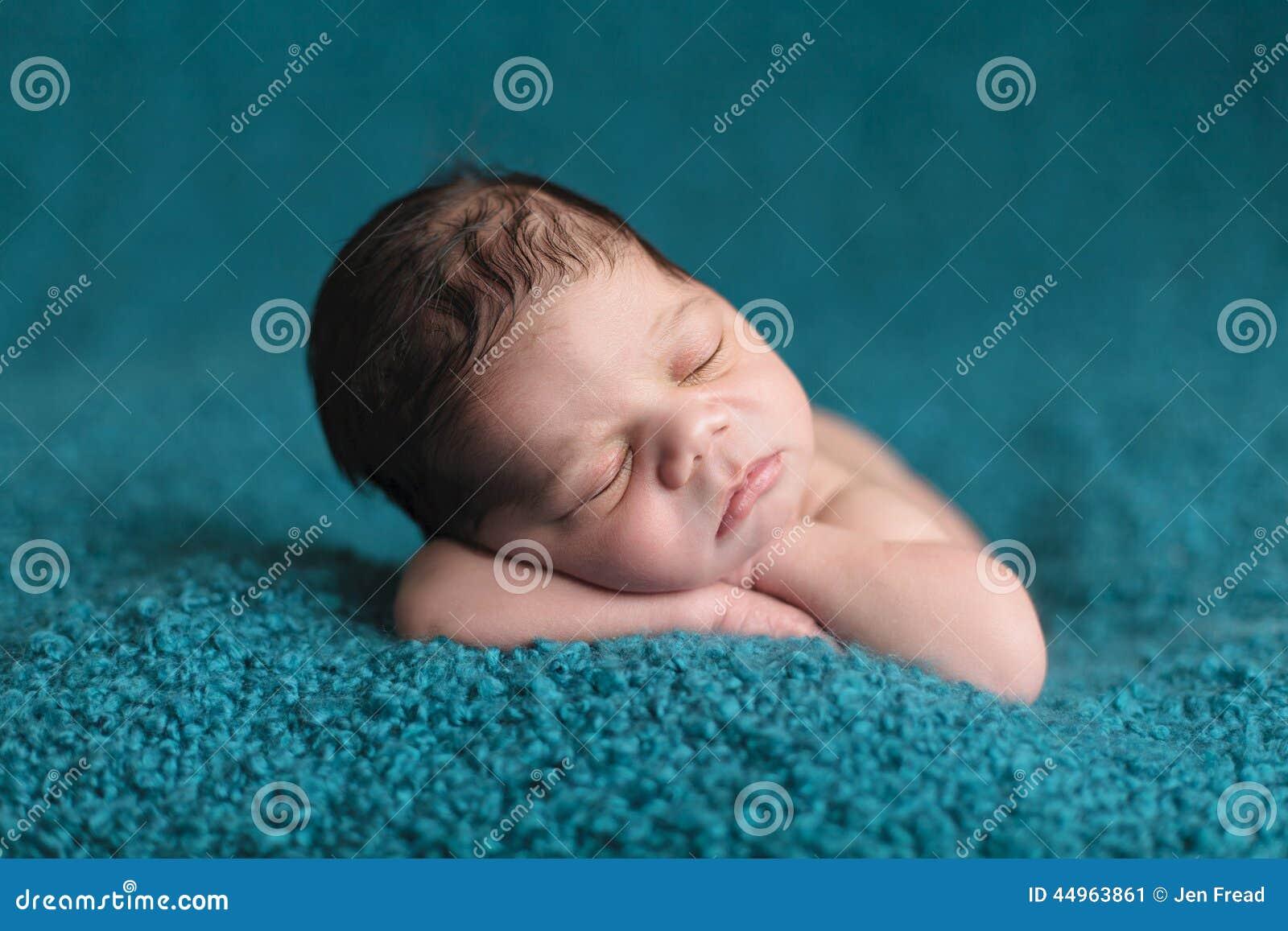 Newborn Baby Falling Asleep Stock Image - Image of